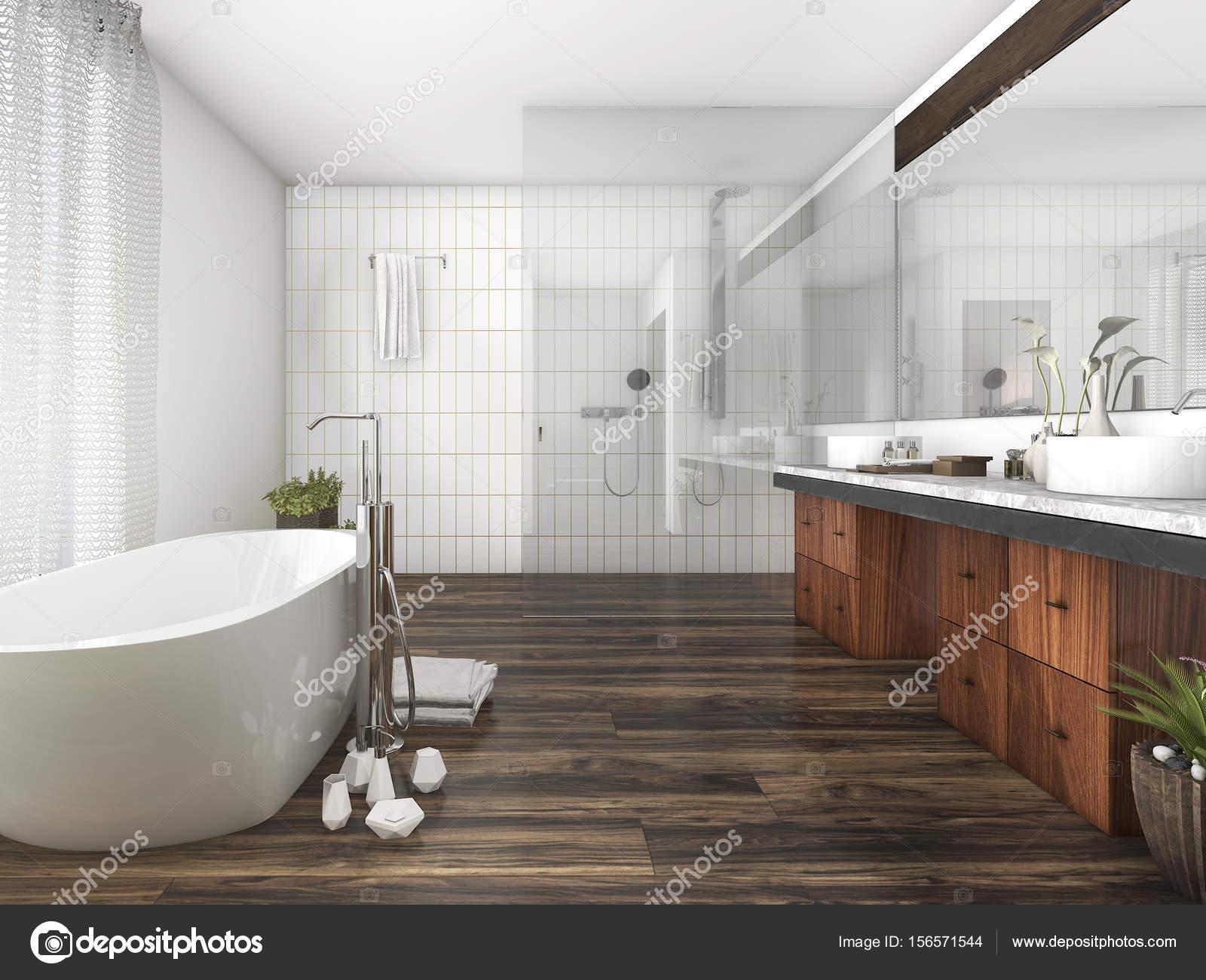 D rendering legno e piastrelle bagno vicino alla finestra una