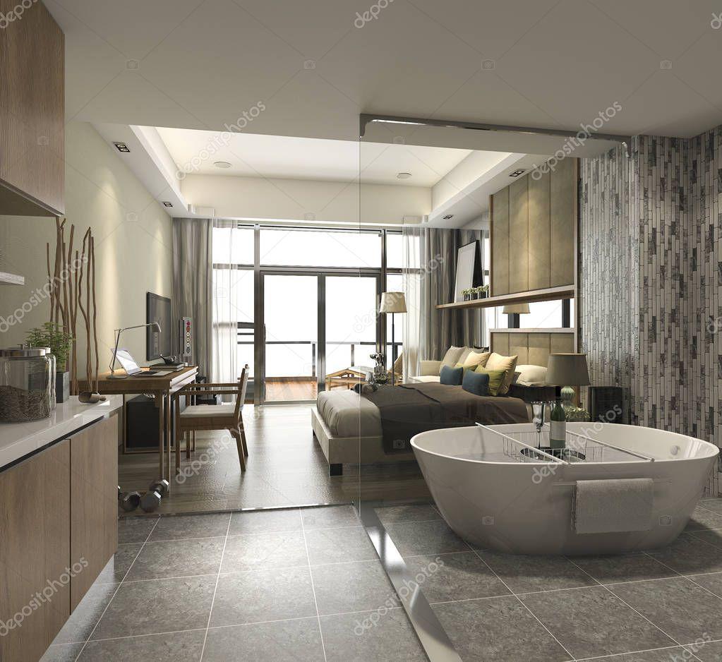 3d render lujo suite hotel habitaci n con ba era y contador de la barra foto de stock - Foto chambre a coucher ...