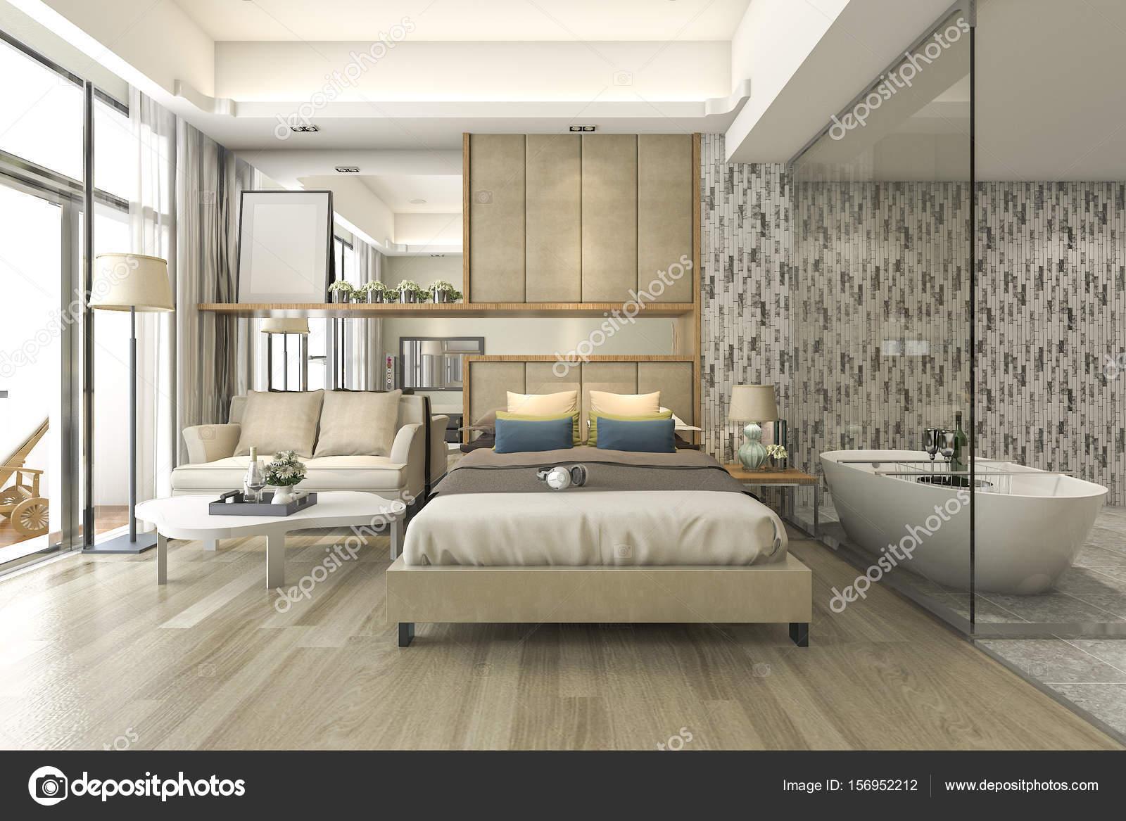 3d rendering luxe suite hotel slaapkamer met bad en teller bar