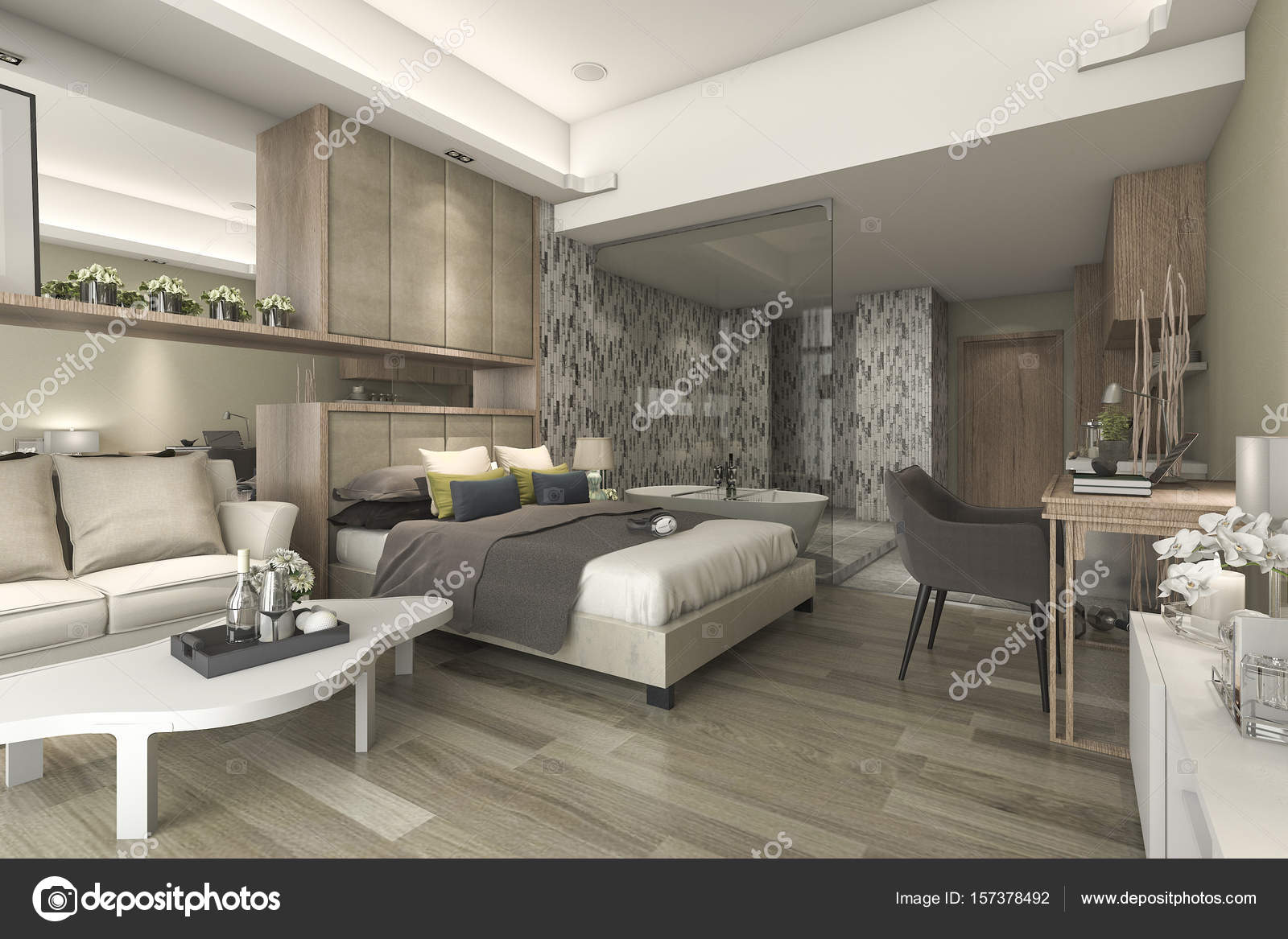 3d rendering luxury suite hotel bedroom with bathtub and for Parati moderni particolari