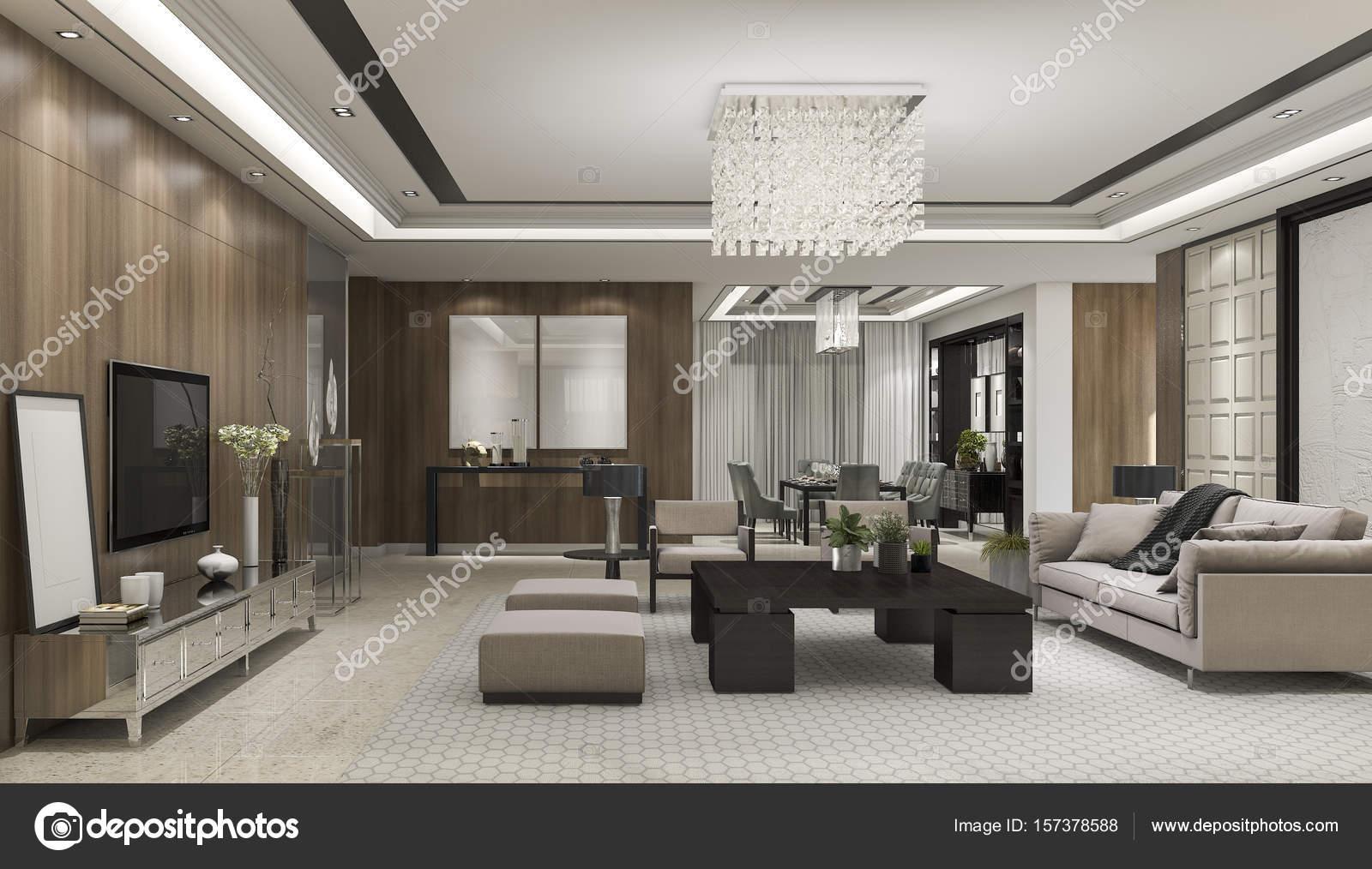Attraktiv 3D Rendering Luxus Und Modernes Wohnzimmer Mit Kronleuchter U2014 Stockfoto