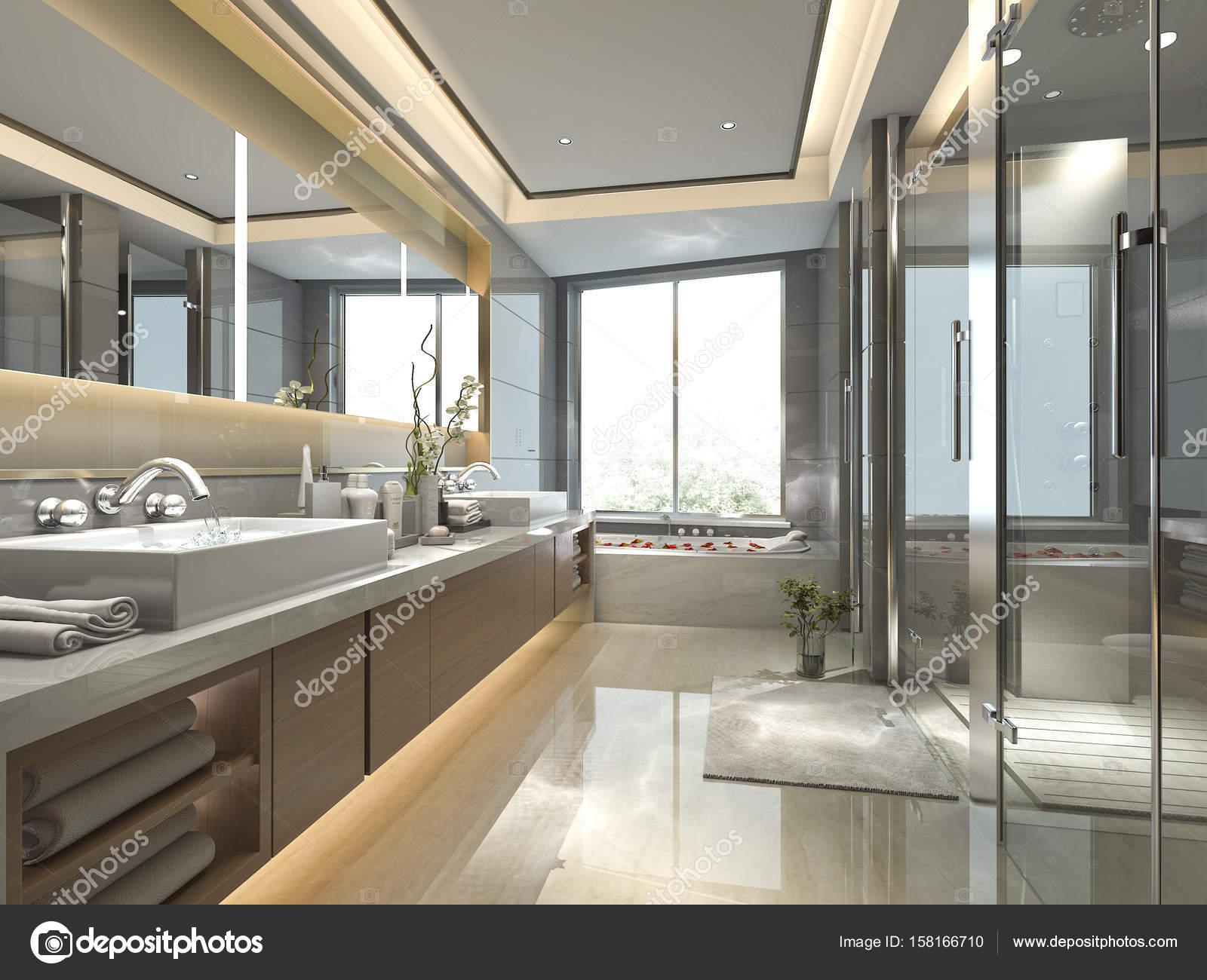 3D Rendering moderne und Luxus-Badezimmer und Toilette ...