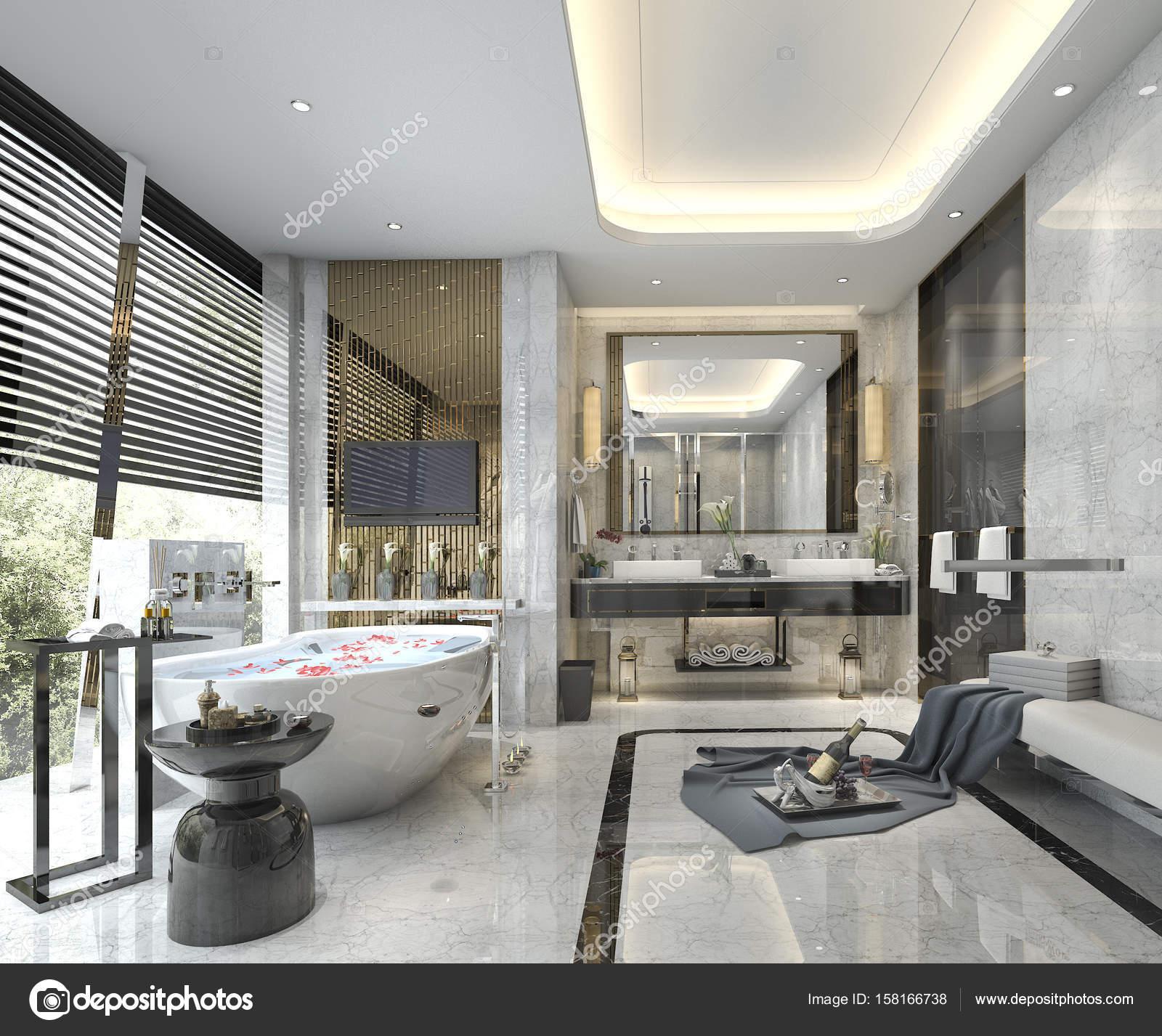 Salle De Bain Beige Meuble Taupe ~ 3d rendu moderne et luxueuse salle de bains et wc photographie