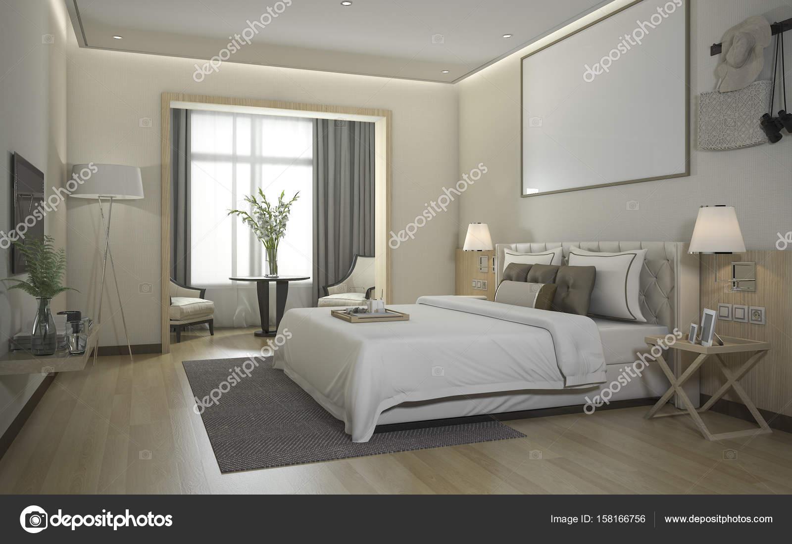 Suite De Chambre A Coucher Moderne Luxe Rendu 3d Dans L Hotel