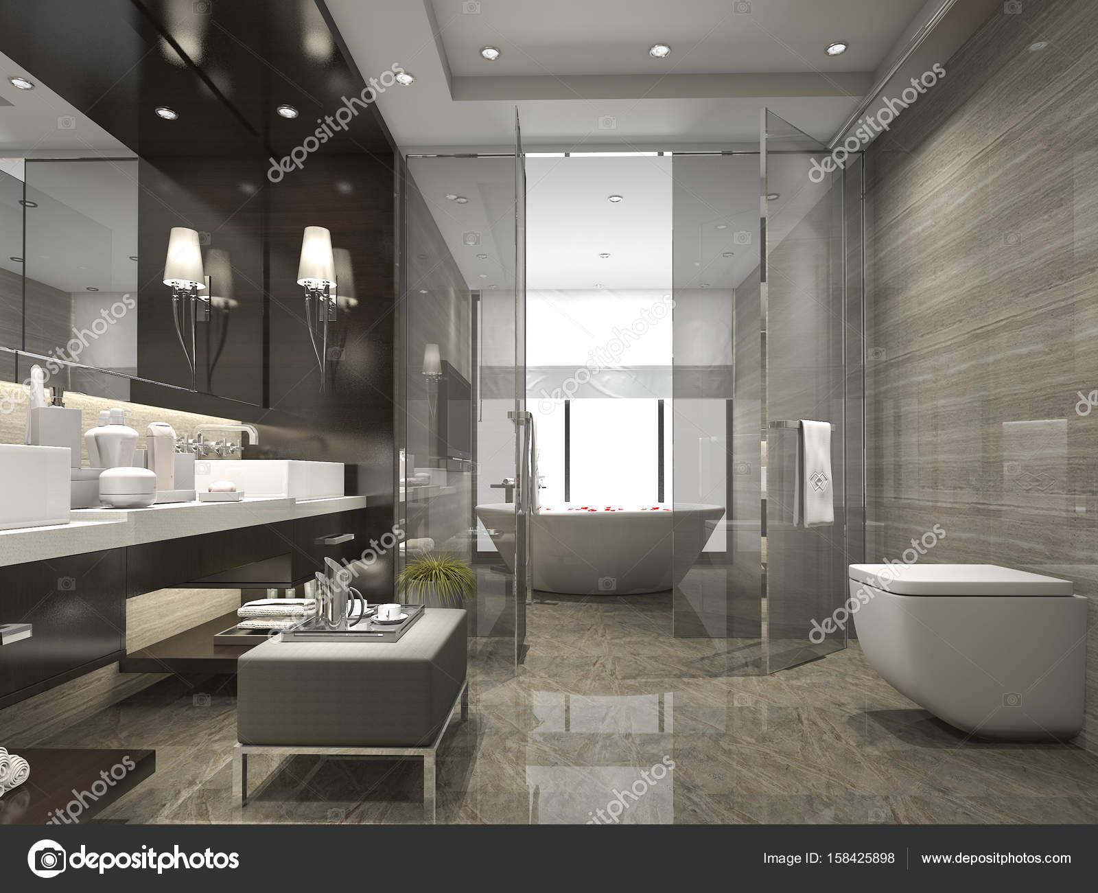 3d Rendu Moderne Et Luxueuse Salle De Bains Et Wc Photographie