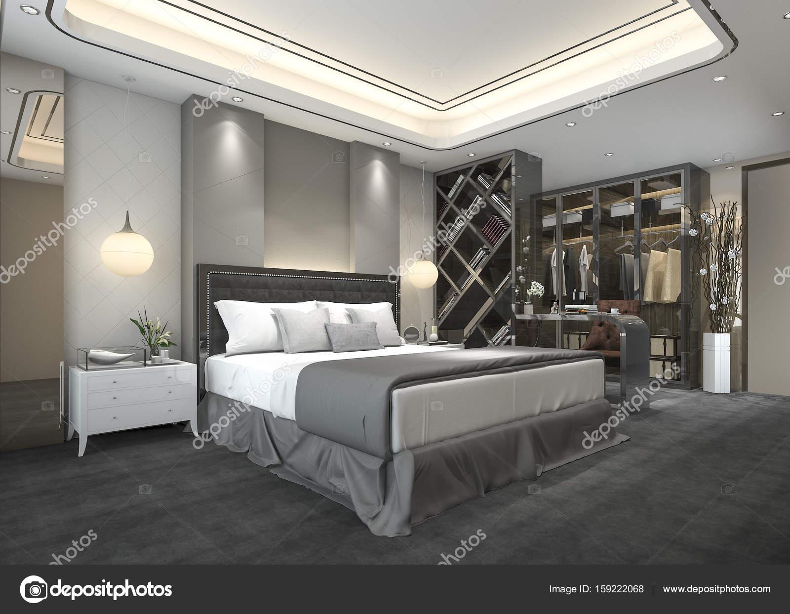 3D rendering luxe moderne slaapkamer suite in hotel met garderobe en ...