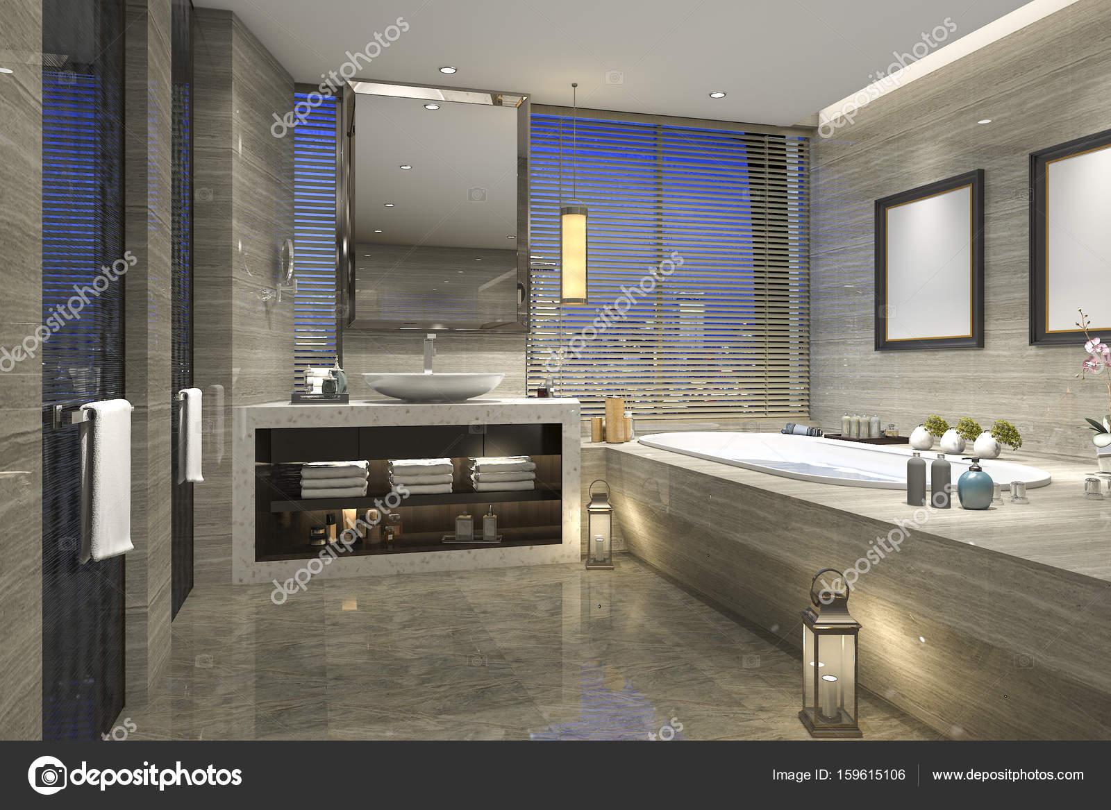 Cuartos de baño de lujo modernos | 3D Render noche vista cuarto de ...