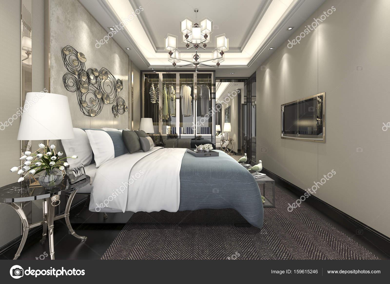 suite camera da letto moderna di lusso rendering 3D in hotel con ...