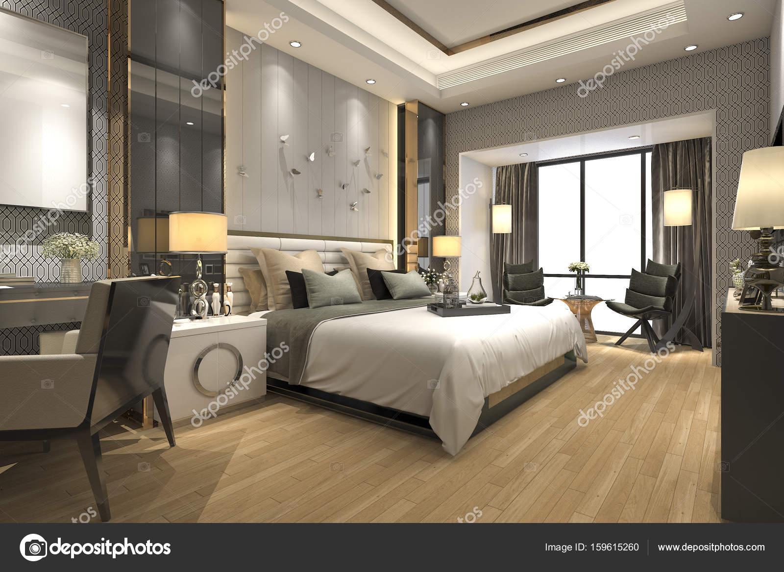 Slaapkamer En Suite : 3d rendering luxe moderne slaapkamer suite in hotel u2014 stockfoto