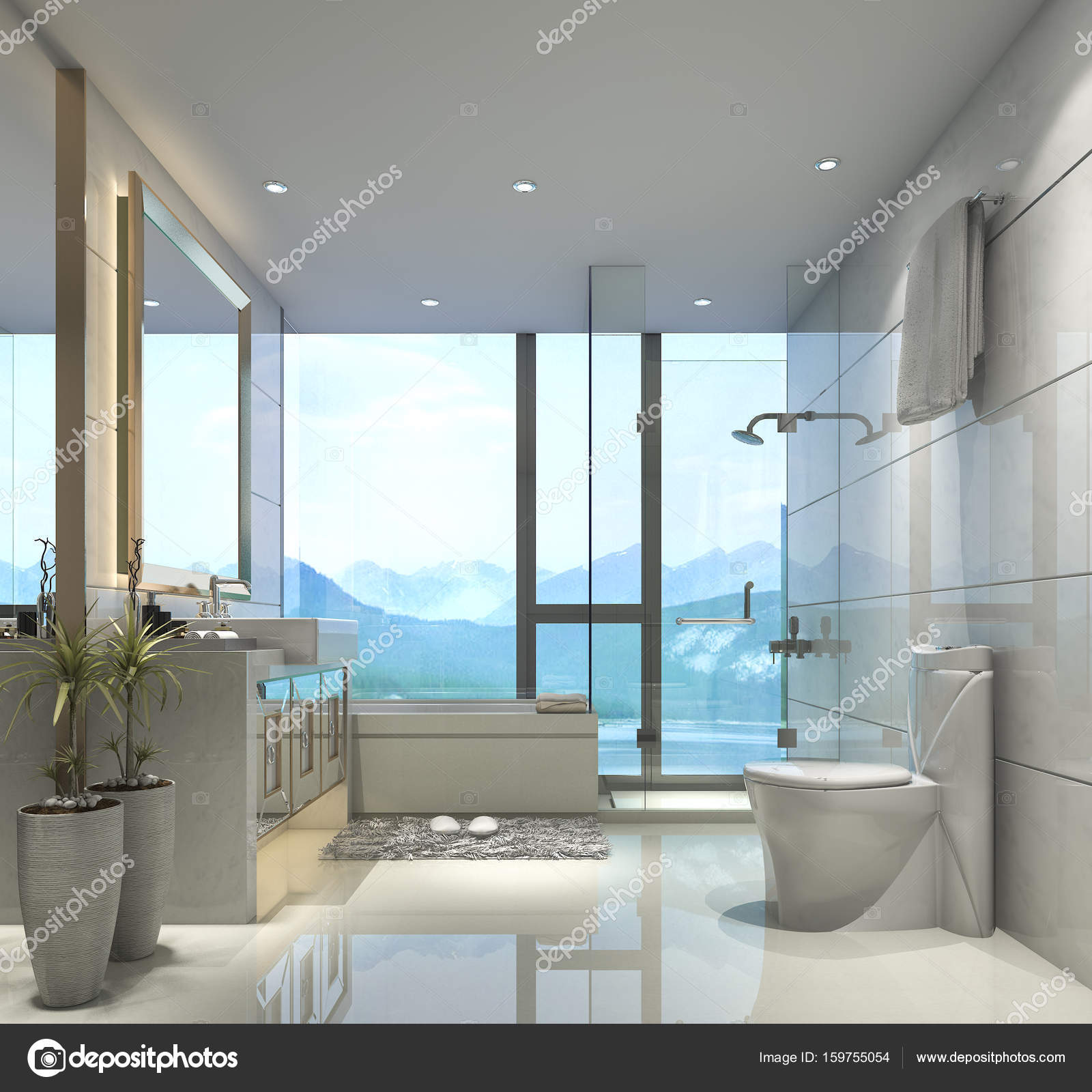 3d rendering modern classic bathroom with luxury tile decor with ...