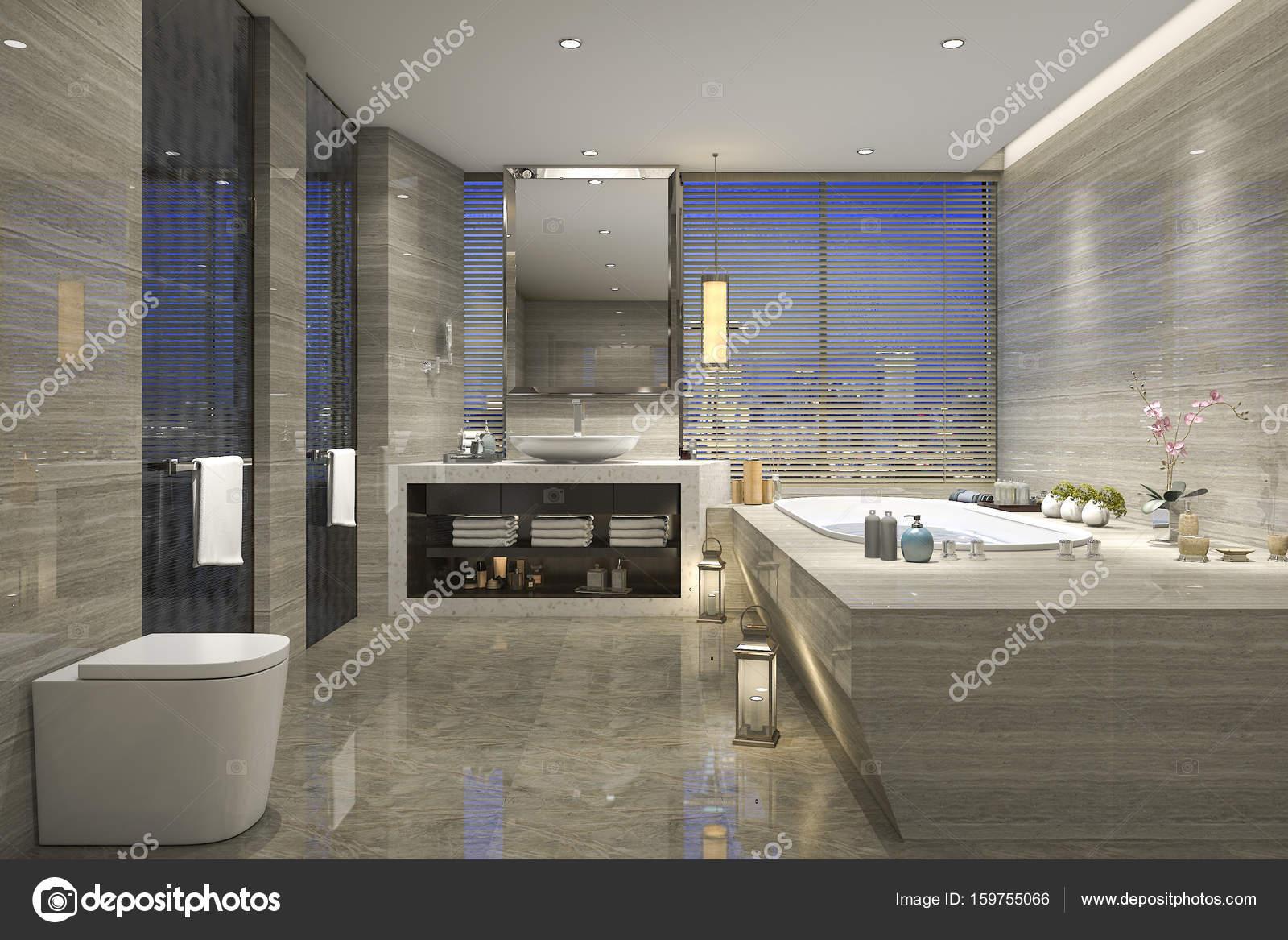 Piastrelle bagno classico moderno del rendering 3d con lusso