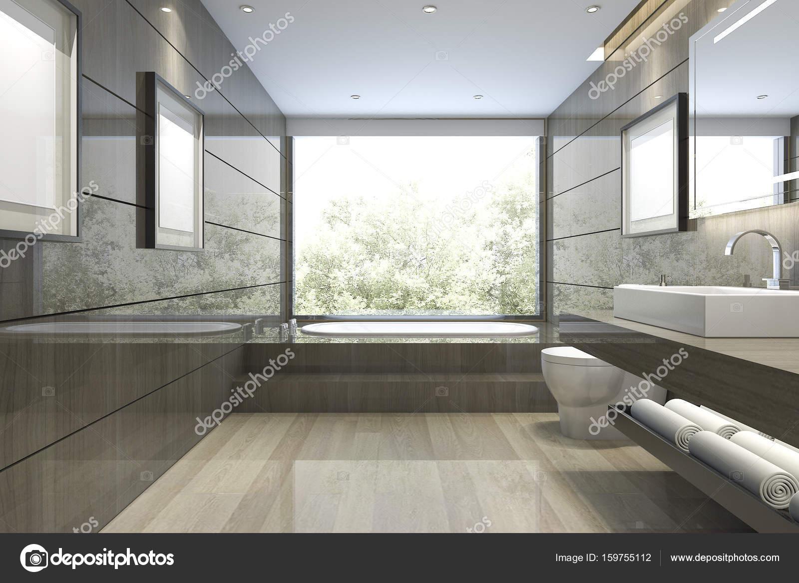 Salle De Bain Avec Vue ~ 3d rendu classique salle de bains moderne avec un luxe de tuiles