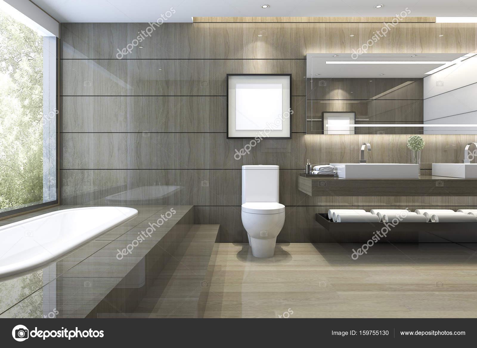 Interieur Natuur Badkamer : D rendering moderne klassieke badkamer met luxe tegel decor met