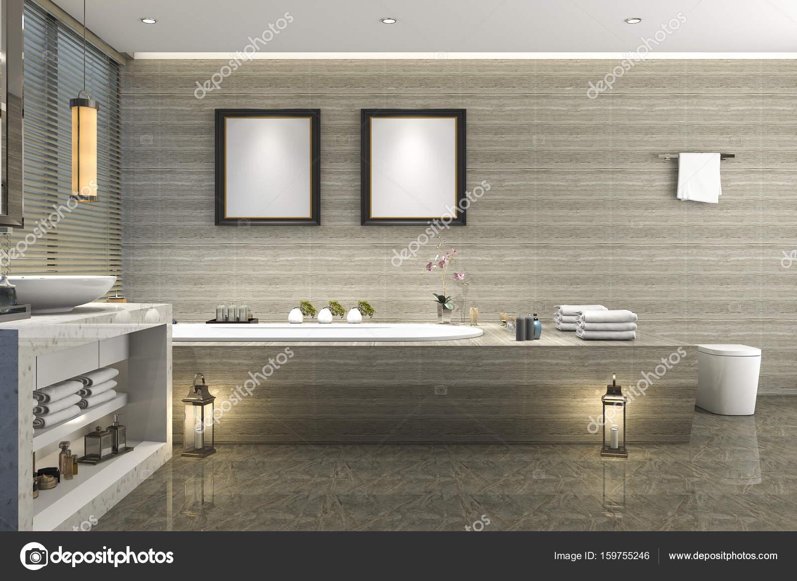 Piastrelle bagno classico moderno del rendering d con lusso