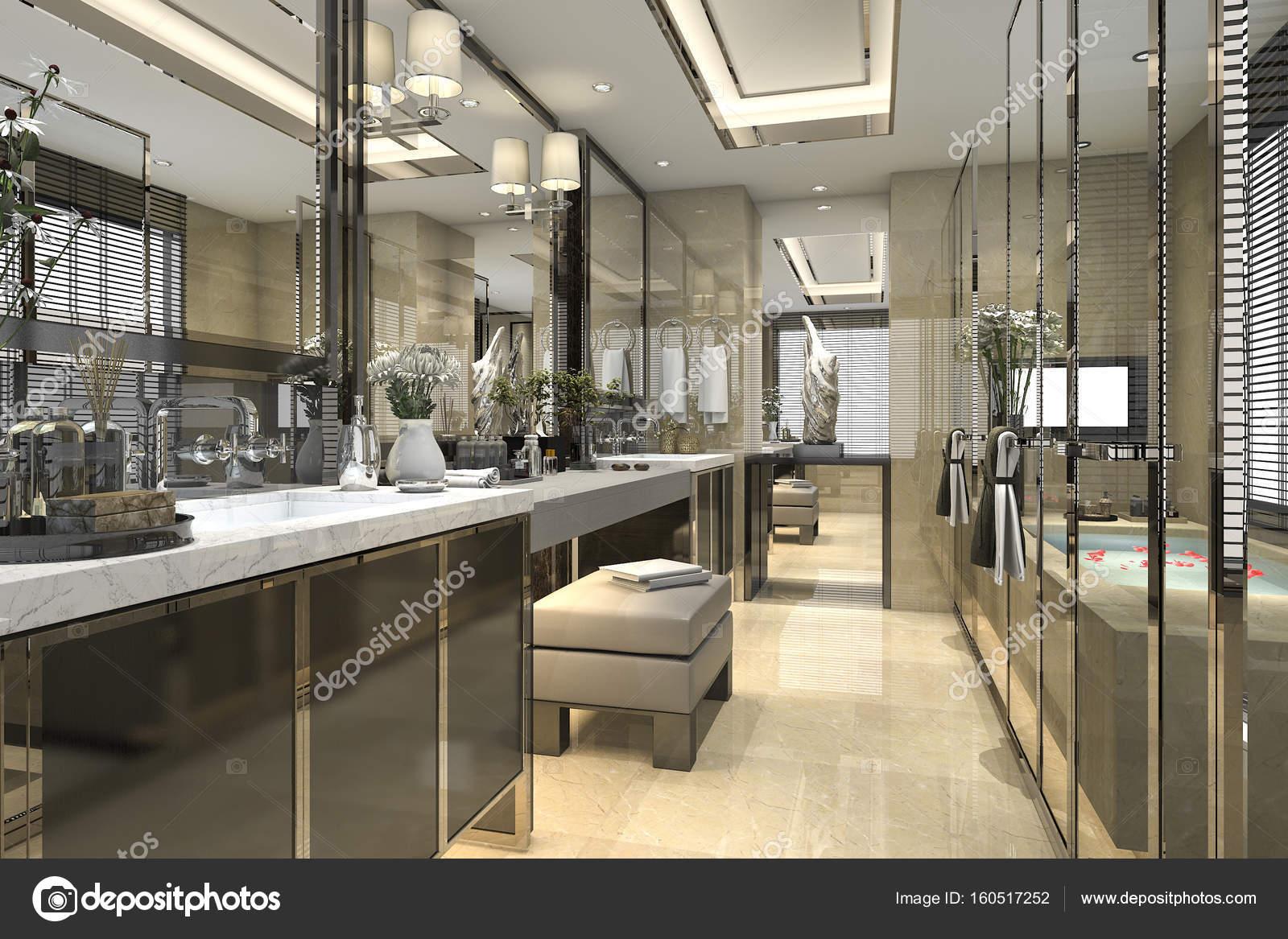 3D Rendering modernes klassisches Bad mit Luxus Fliesen Dekor mit ...