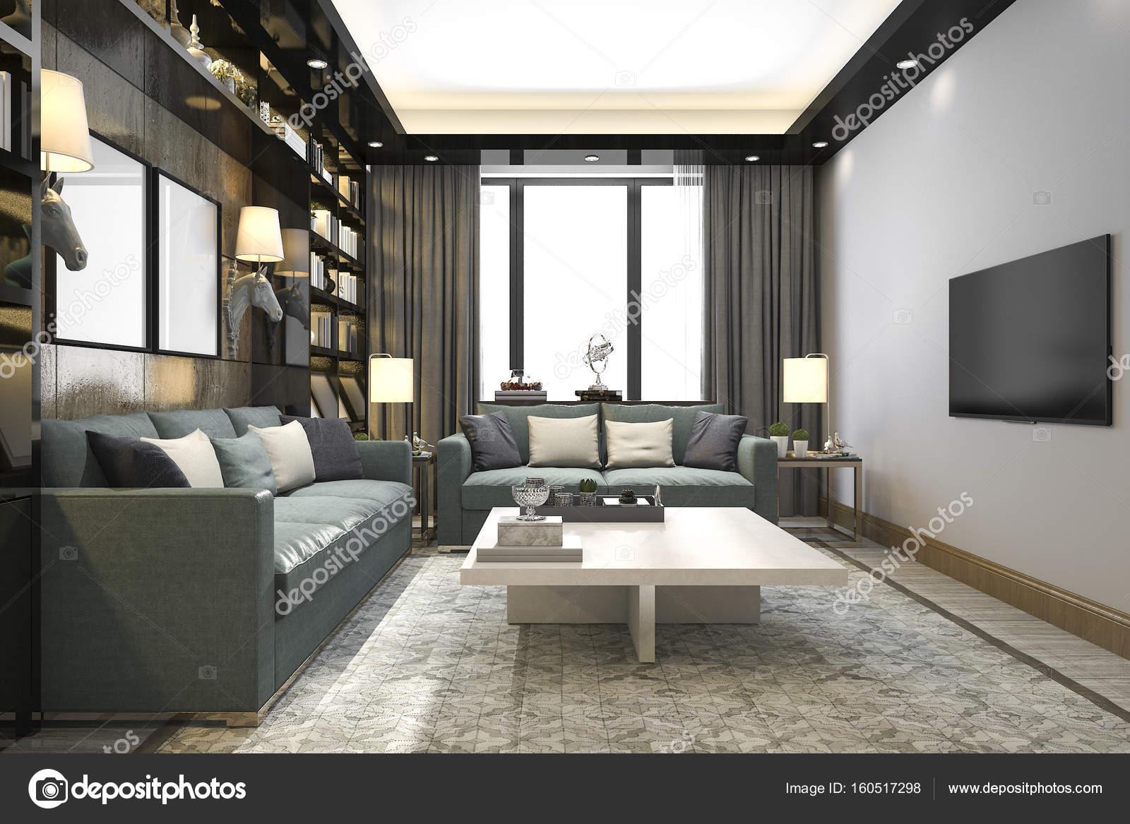 3D Rendering Loft Luxus Wohnzimmer mit Bücherregal und Bibliothek ...
