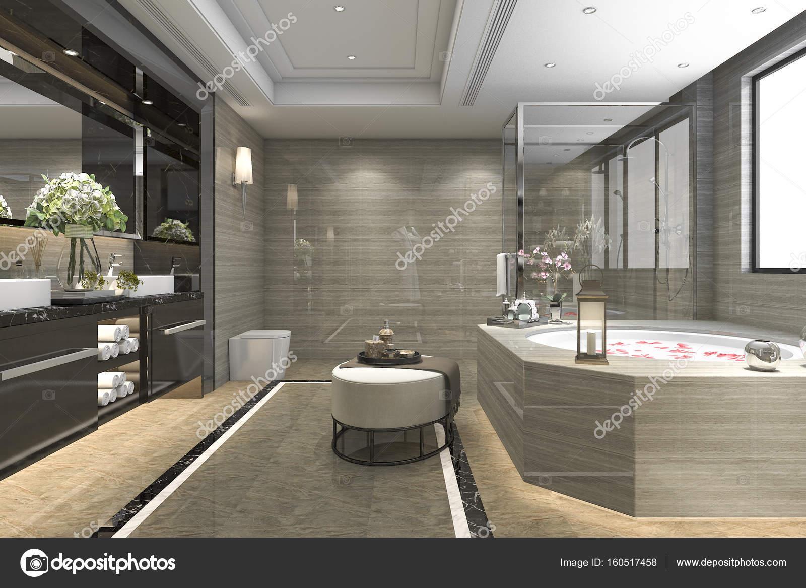 piastrelle bagno classico moderno del rendering 3D con lusso ...