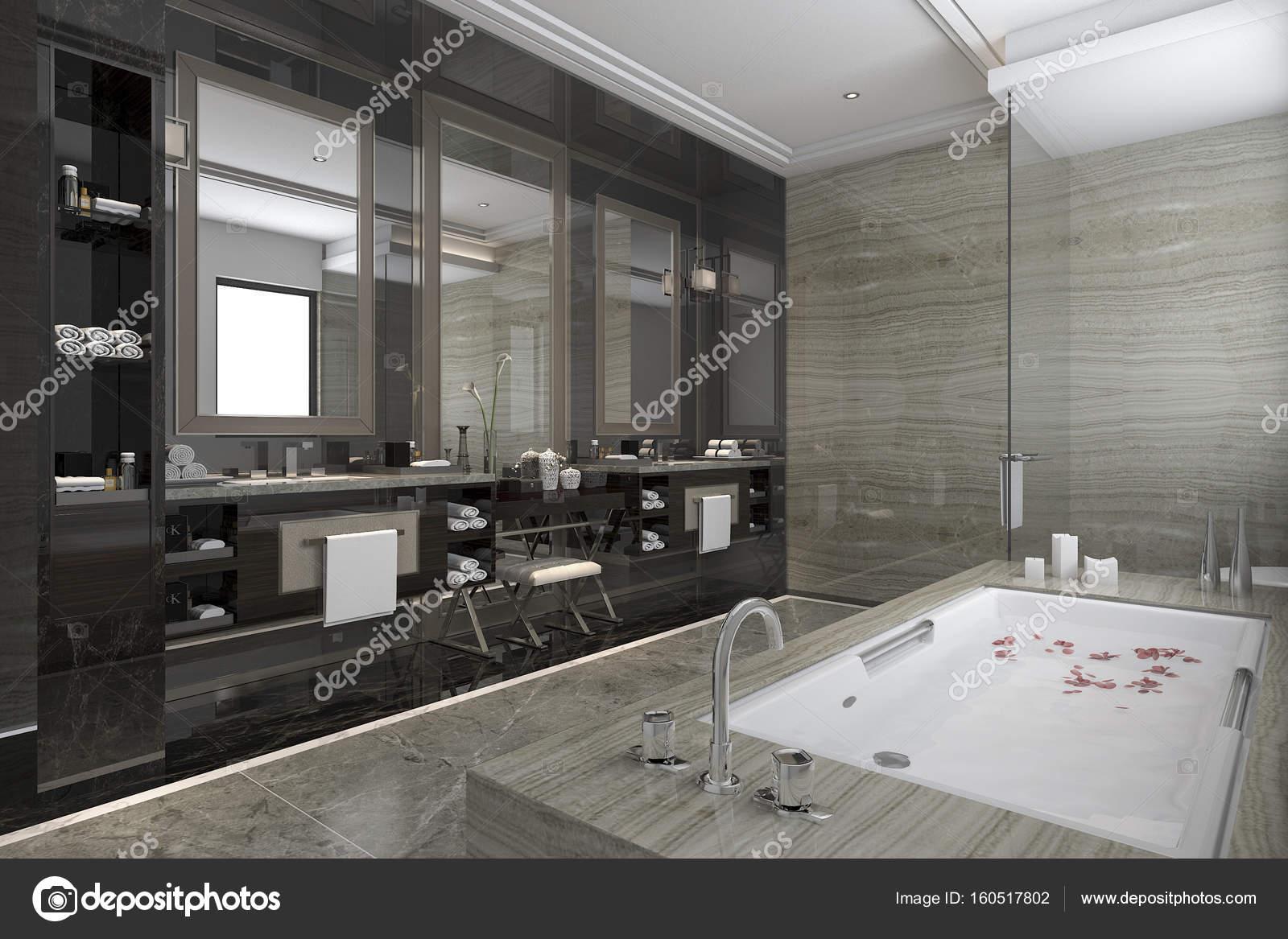 3D rendering moderne klassieke badkamer met luxe tegel decor met ...