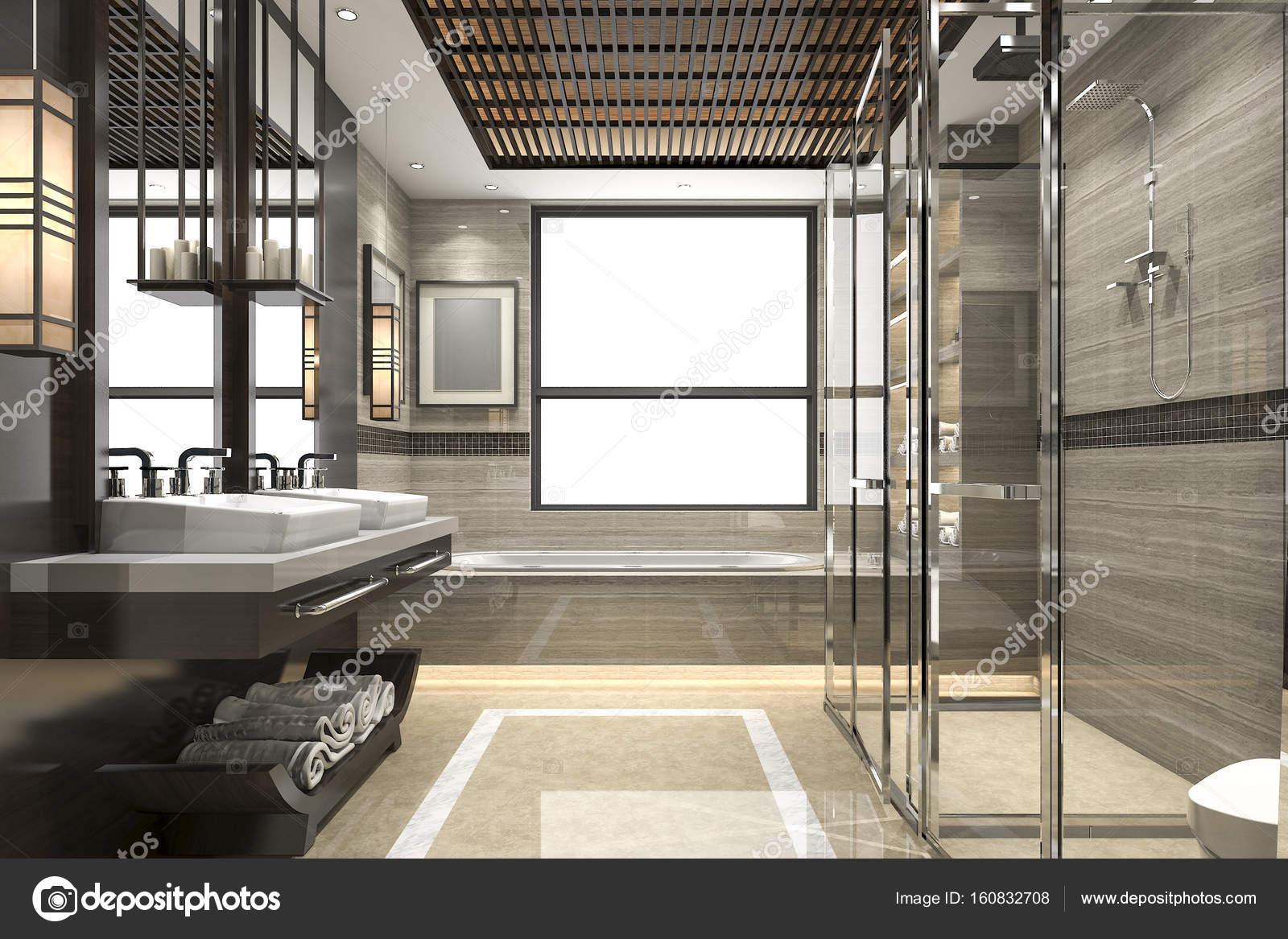 3D Rendering modernen Loft Bad mit luxuriösen Fliesen Dekor mit ...