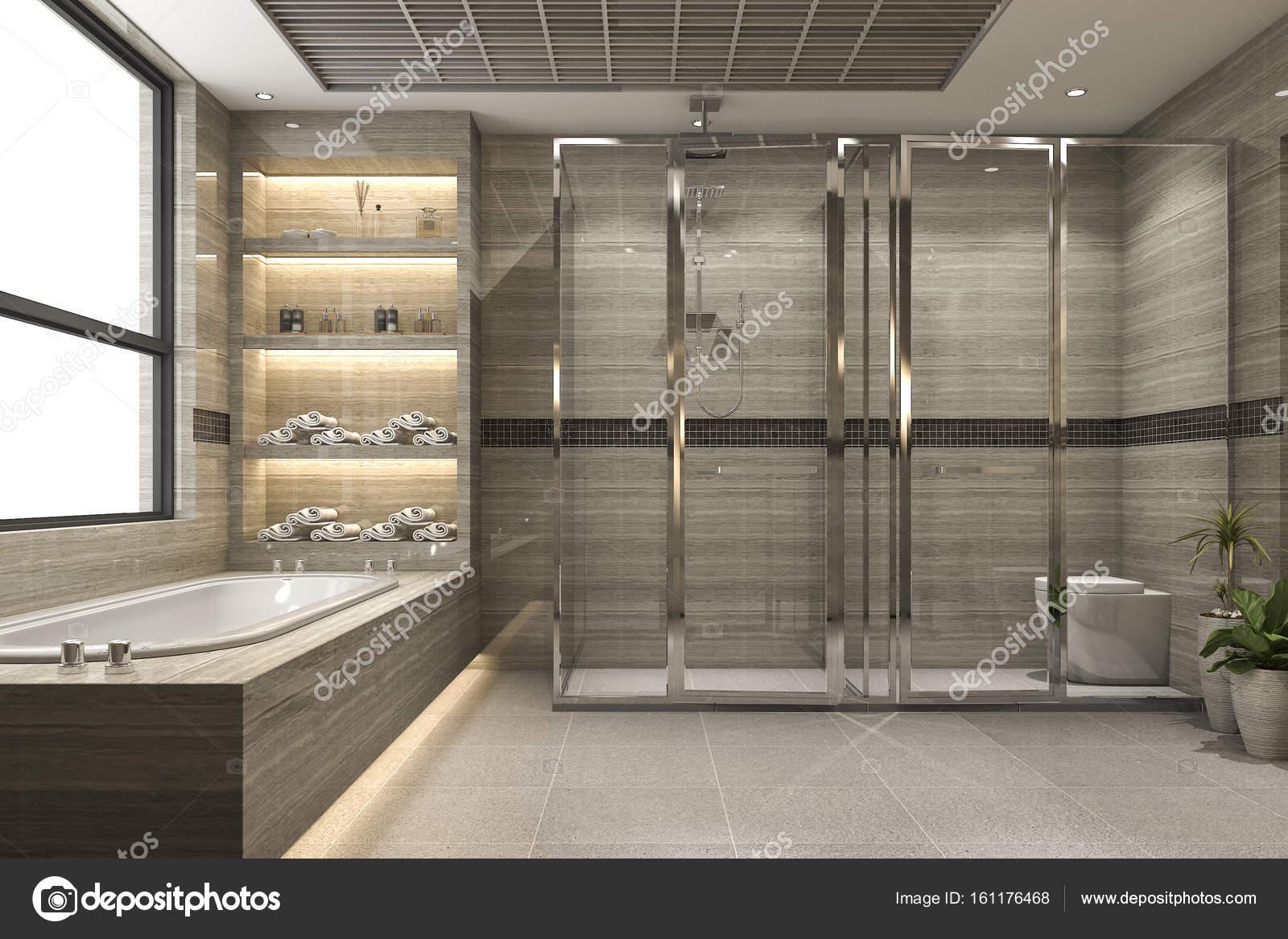 Stanza da bagno moderno loft di rendering d con lusso piastrelle