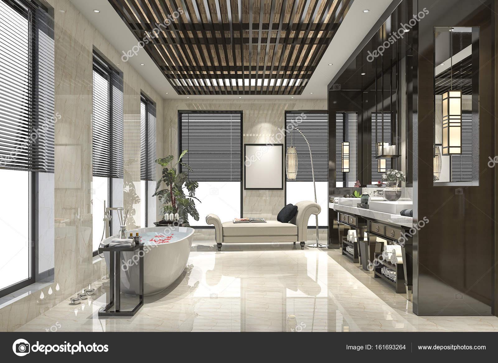 modernes Loft Bad mit luxuriösen Fliesen-Dekor — Stockfoto ...