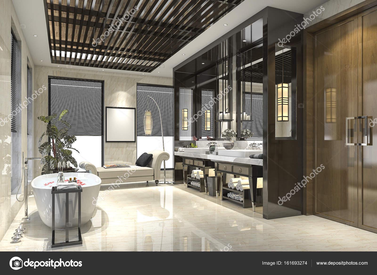 Piastrelle bagno moderno loft con lusso arredamento u2014 foto stock