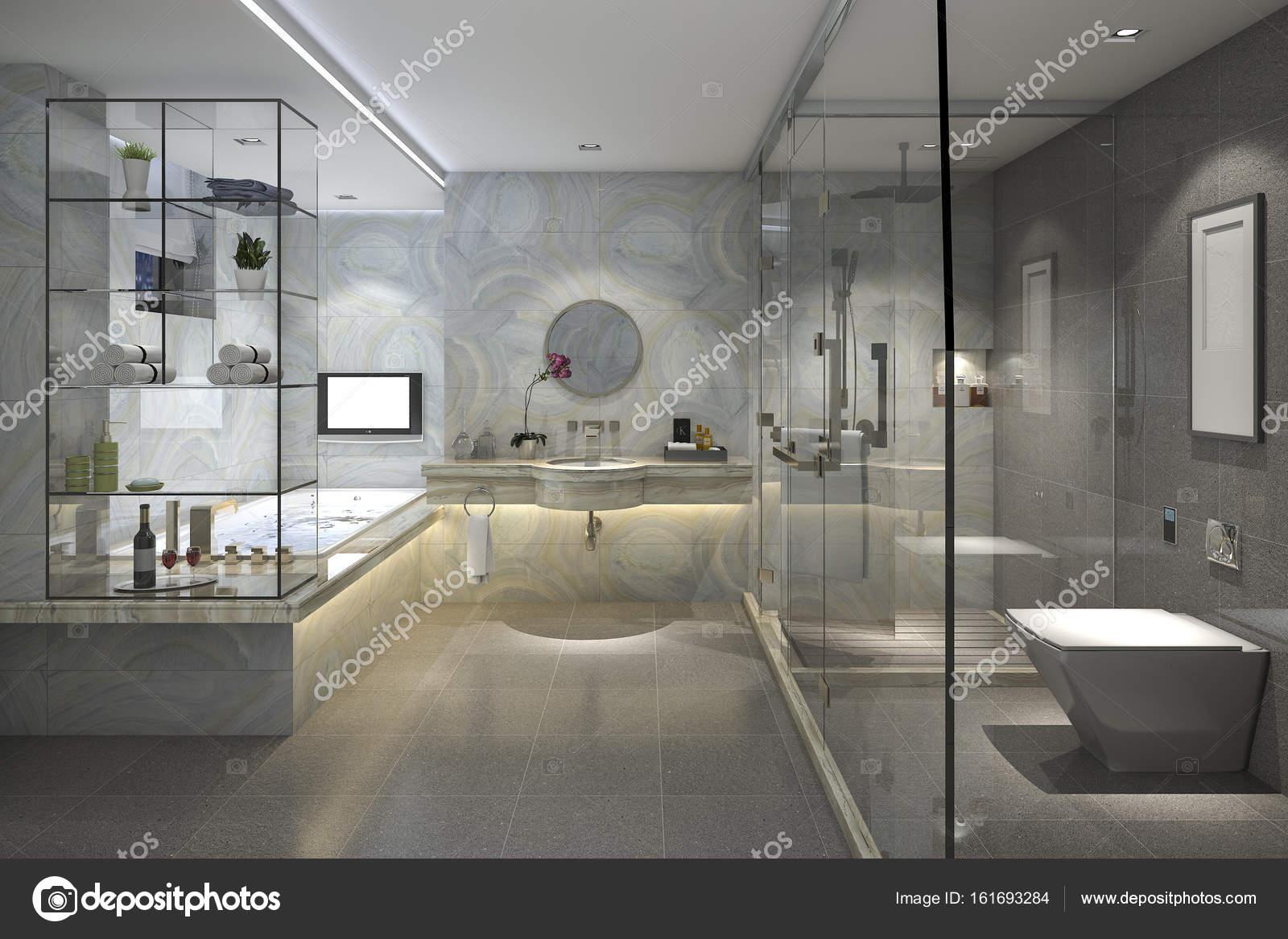 Piastrelle bagno moderno loft con lusso arredamento u foto stock