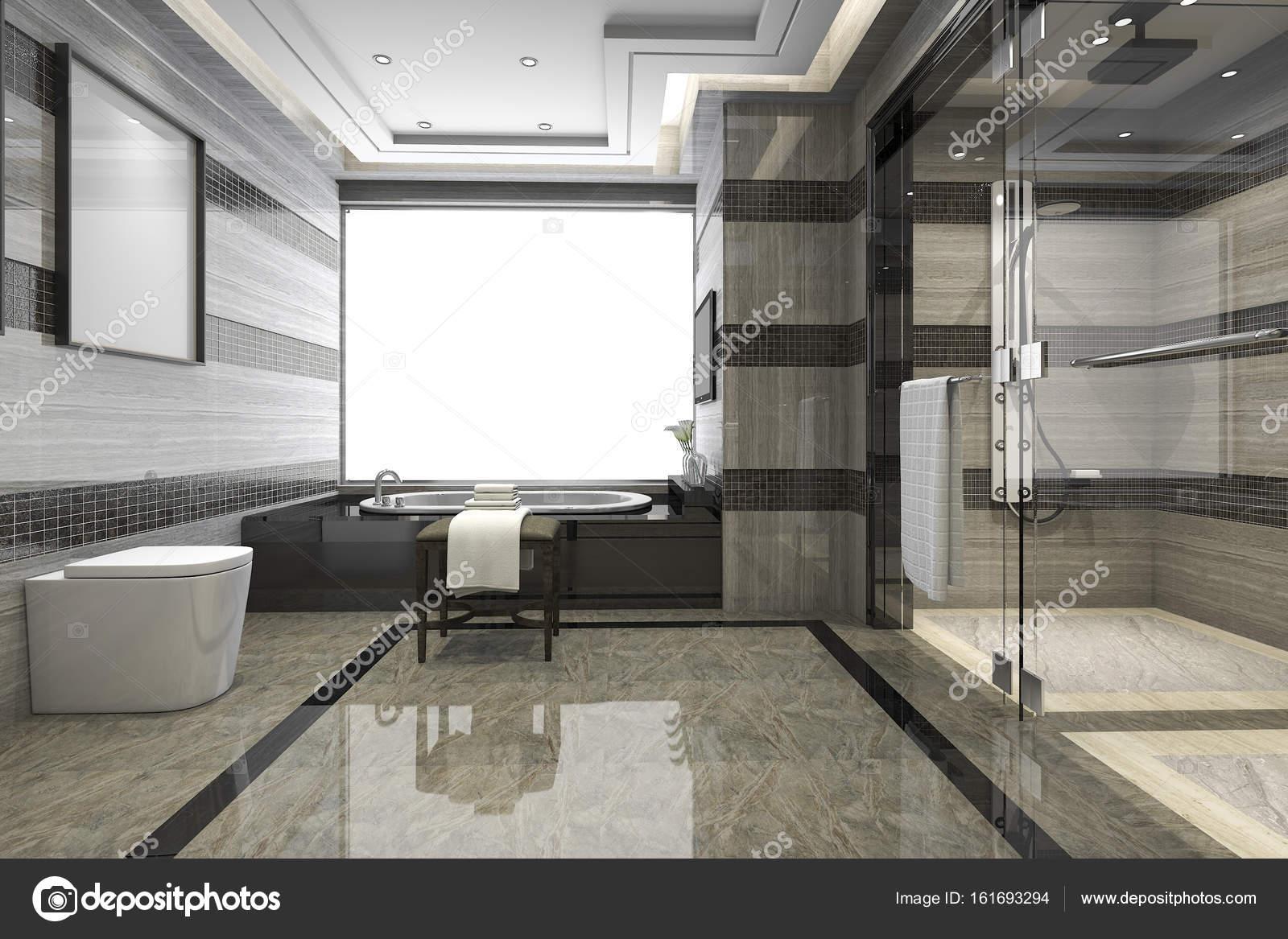 Modernes Loft Bad Mit Luxuriosen Fliesen Dekor Stockfoto