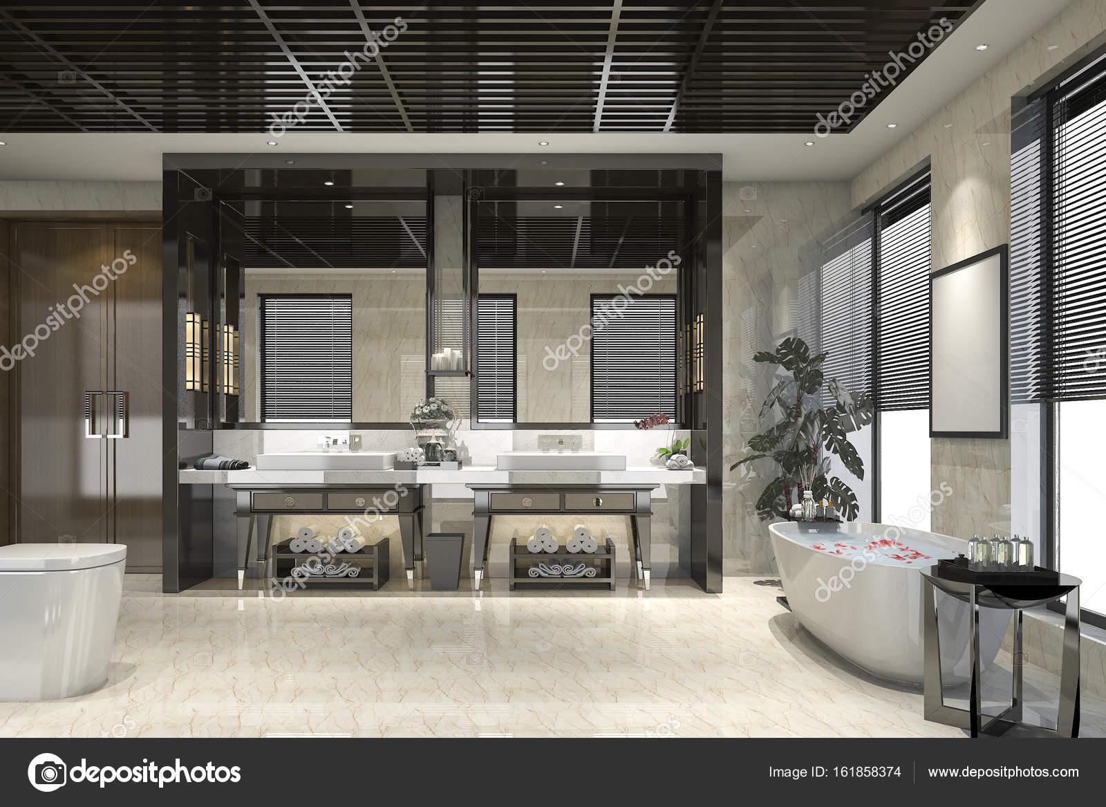 Stanza da bagno moderno loft di rendering 3d con lusso piastrelle