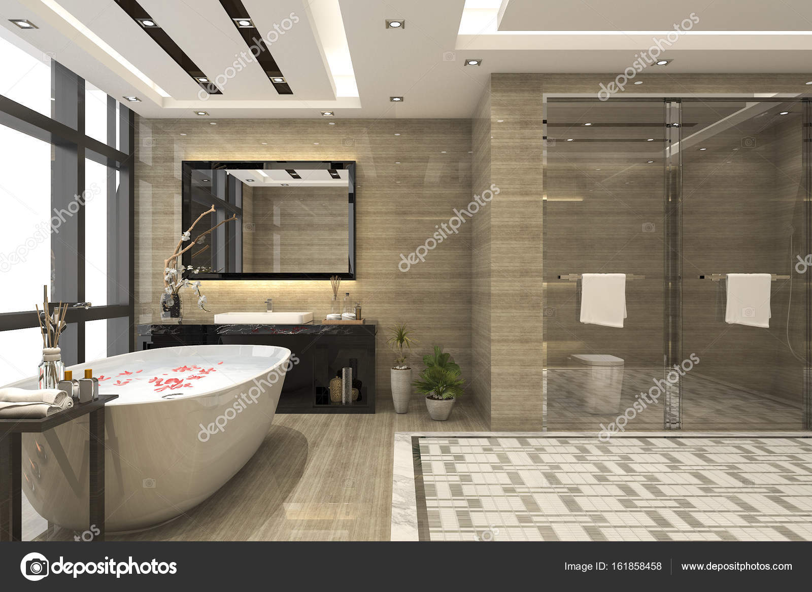 Camere Da Bagno Moderne.Stanza Da Bagno Moderno Loft Di Rendering 3d Con Lusso
