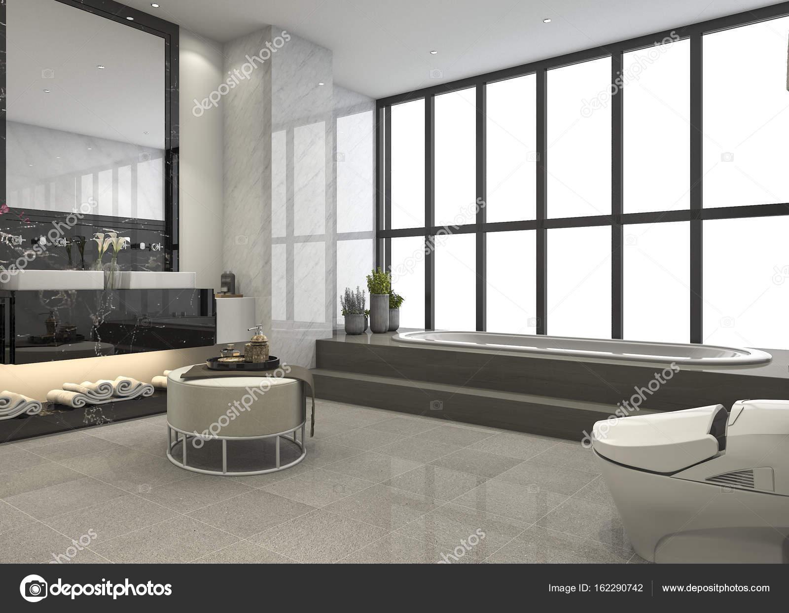 Sala Da Bagno Moderna : Stanza da bagno moderno loft di rendering 3d con lusso piastrelle