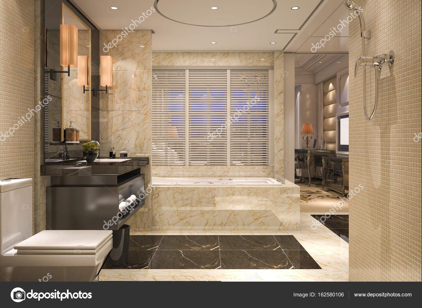 3D rendu loft moderne et classique salle de bains avec décor de ...