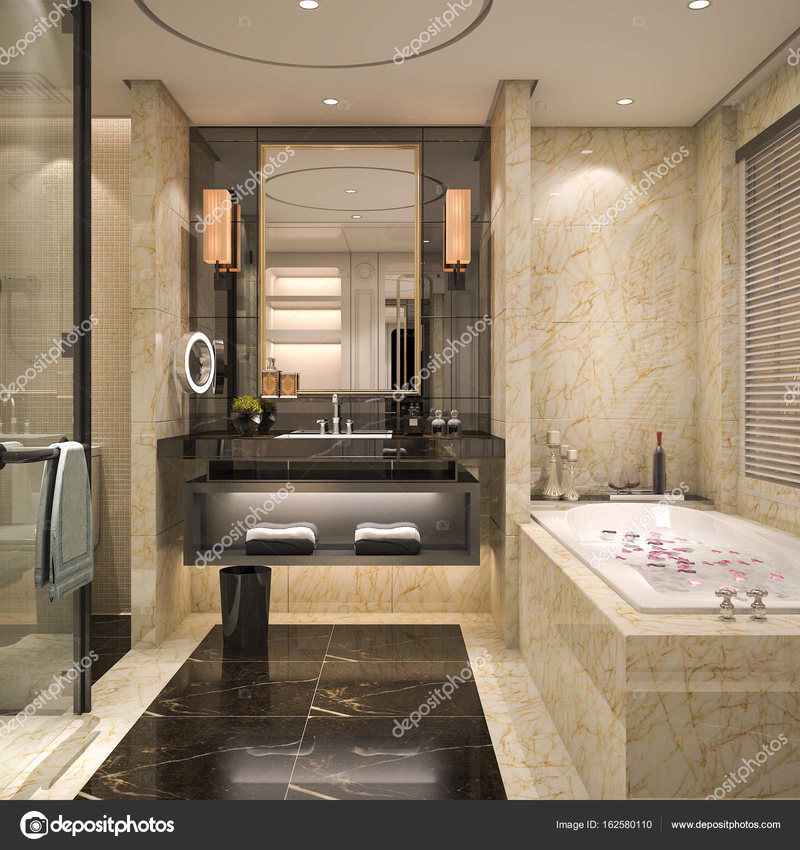 Banheiro De Apartamento Moderno E Cl Ssico De Renderiza O 3d Com