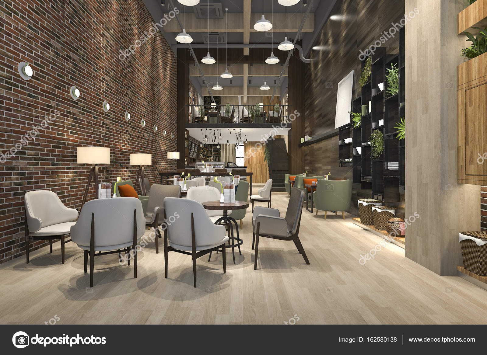 3d rendering loft and luxury hotel reception and cafe lounge ...