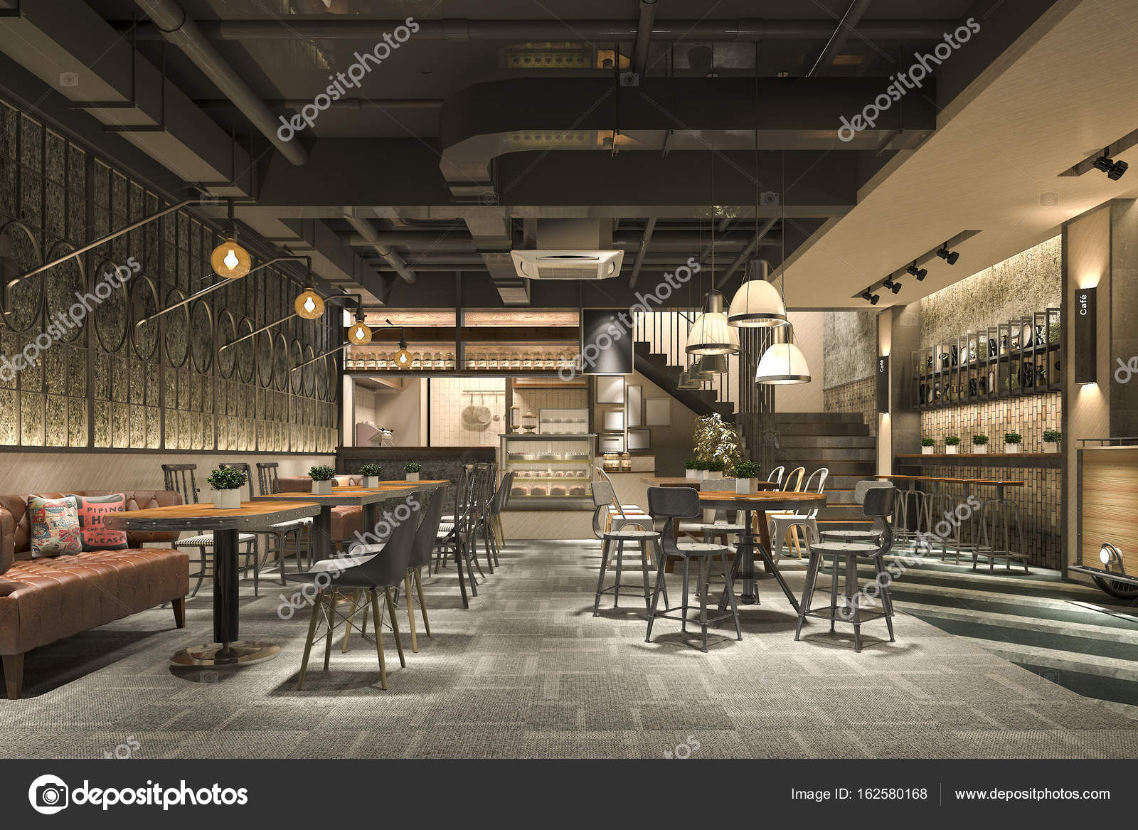 3d Rendering Loft And Luxury Hotel Reception And Cafe Lounge Restaurant Stock Photo C Dit26978 162580168