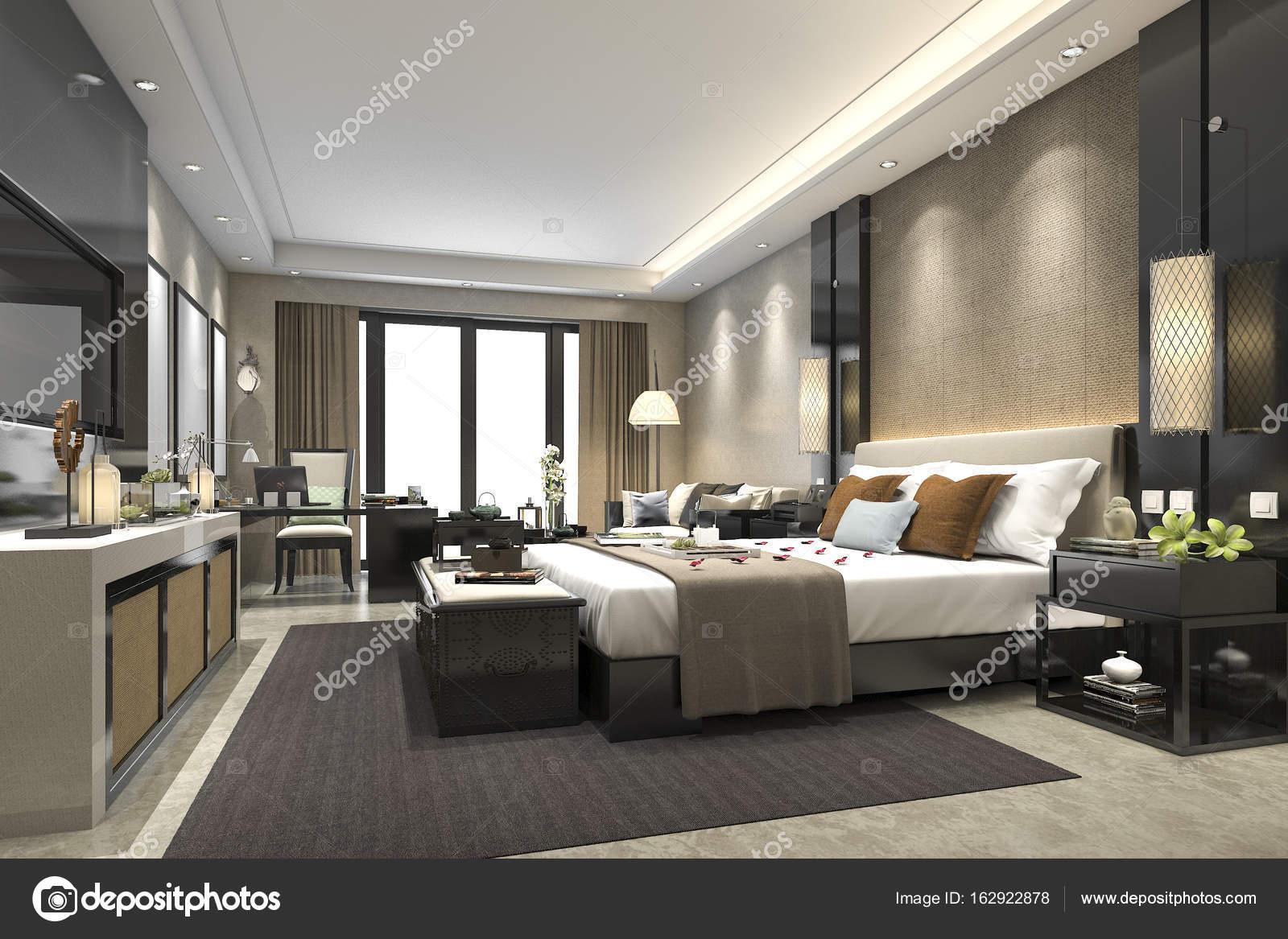 3D rendering luxe moderne slaapkamer suite in hotel — Stockfoto ...