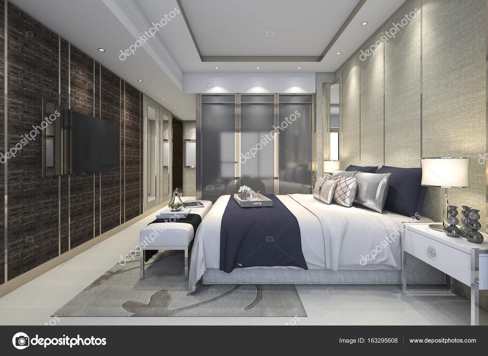 3d rendering luxe moderne slaapkamer suite in hotel met garderobe en