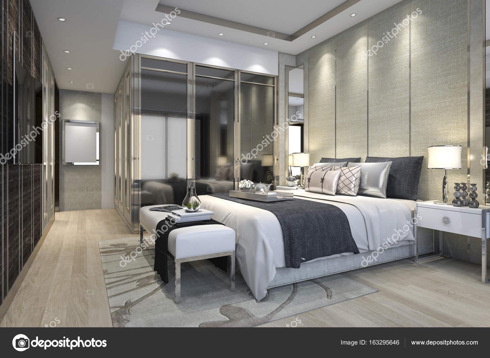 Inloopkast In Slaapkamer : 3d rendering luxe moderne slaapkamer suite in hotel met garderobe en
