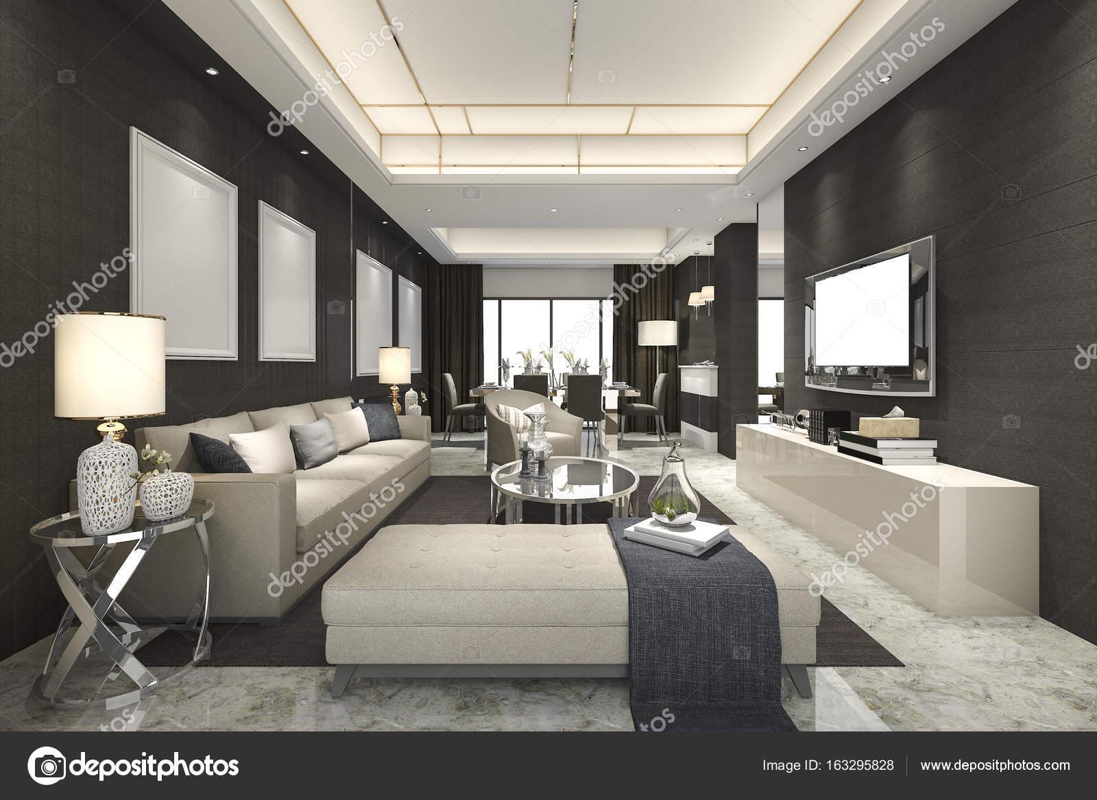 Esszimmer Modern Luxus 3d rendering, luxus und moderne wohnzimmer und esszimmer — stockfoto