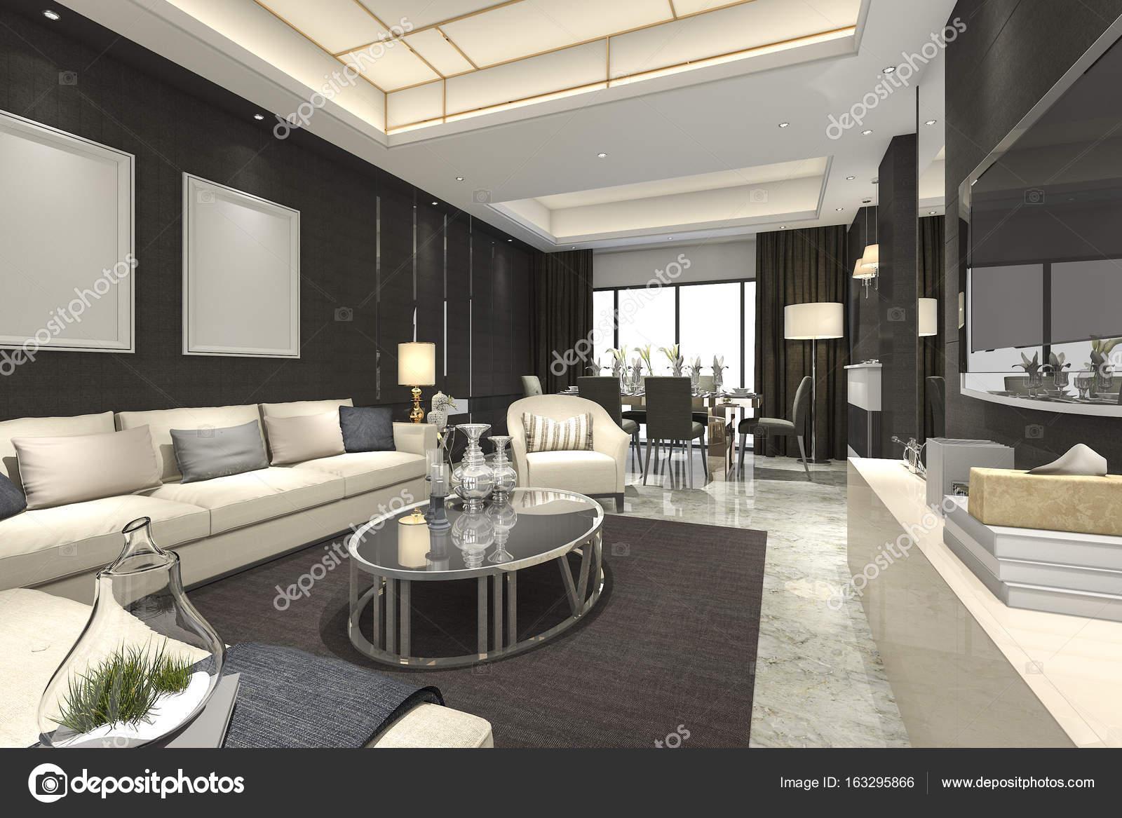 3d rendering di lusso e moderno salotto e sala da pranzo for Arredamento soggiorno moderno di lusso