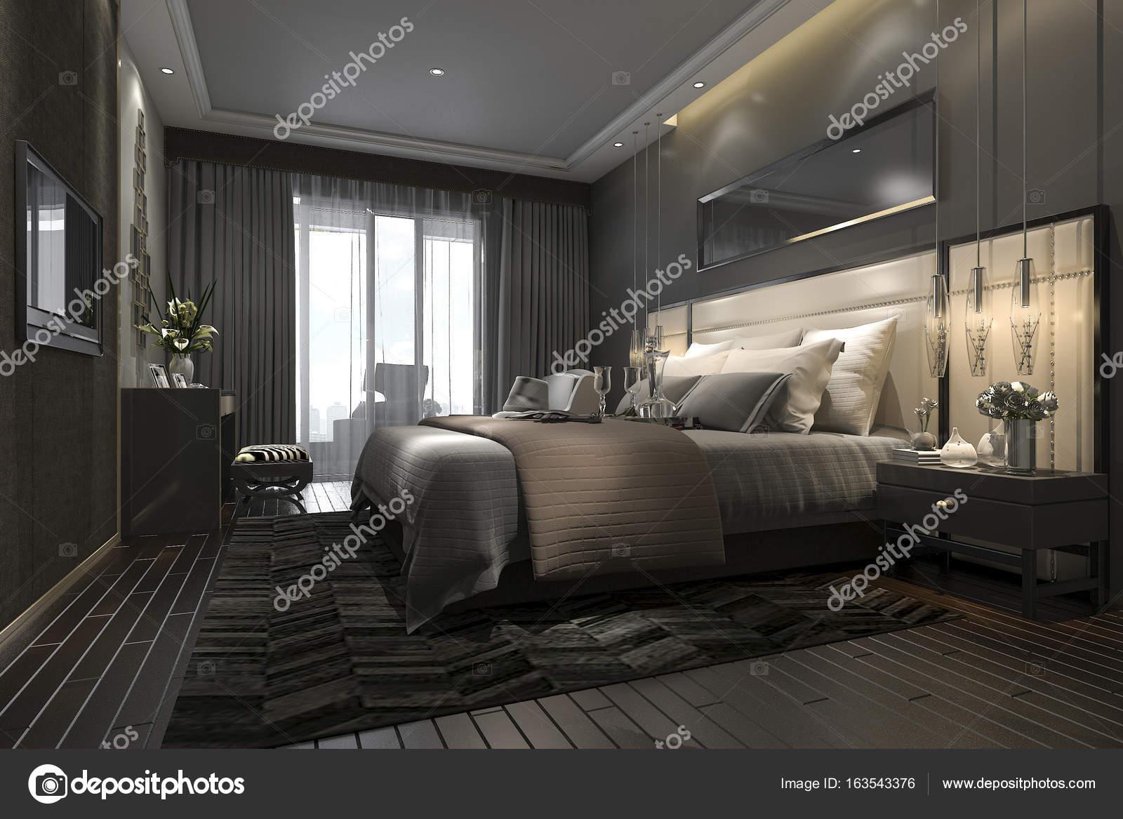 3D rendering zwart luxe moderne slaapkamer suite in hotel en resort ...