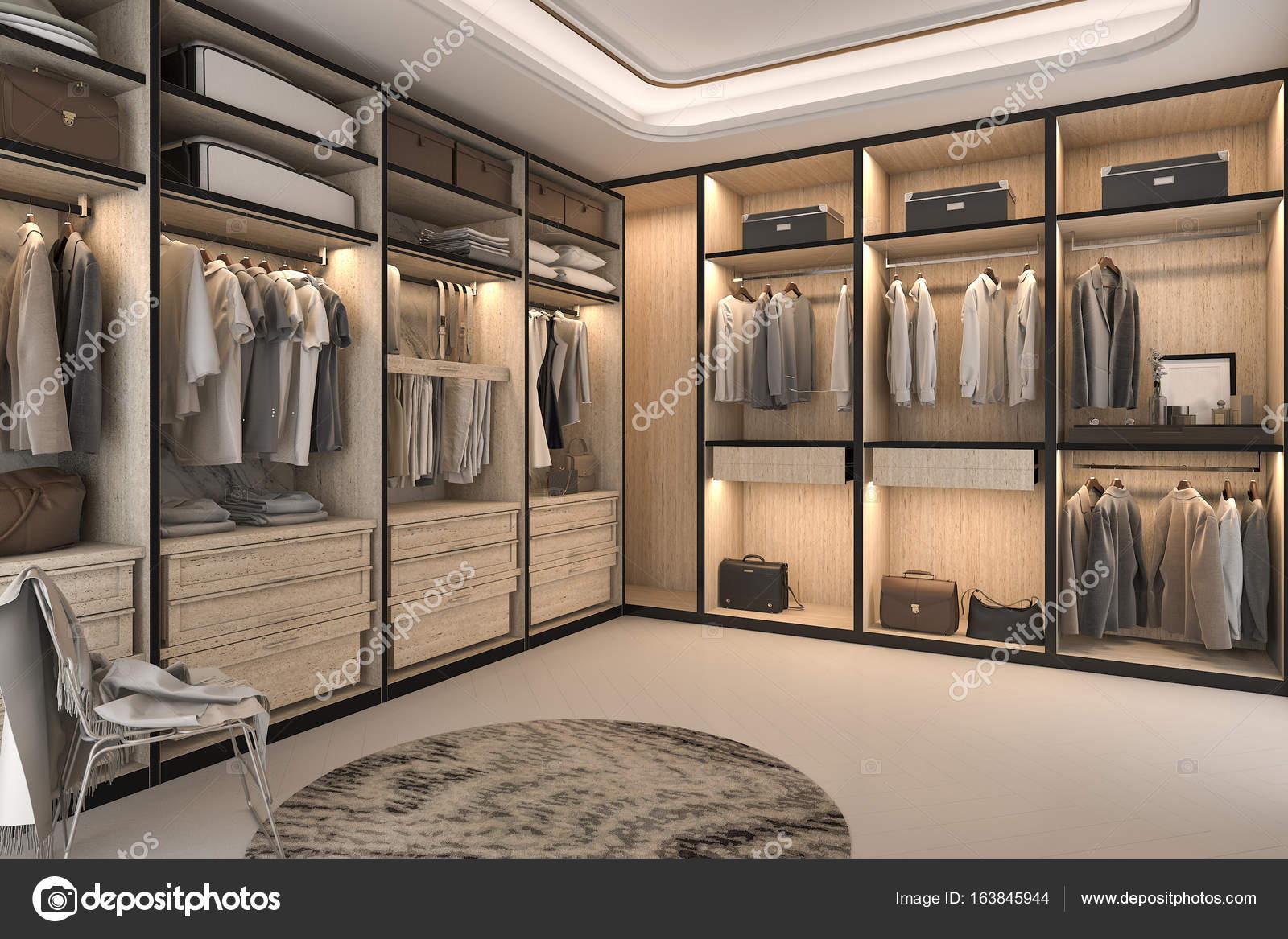Cabina Armadio Lusso : Legno di lusso minimal loft rendering 3d cabina armadio con