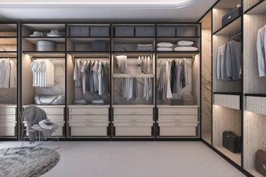 3d rendering minimal loft luxury wood walk in closet with wardrobe