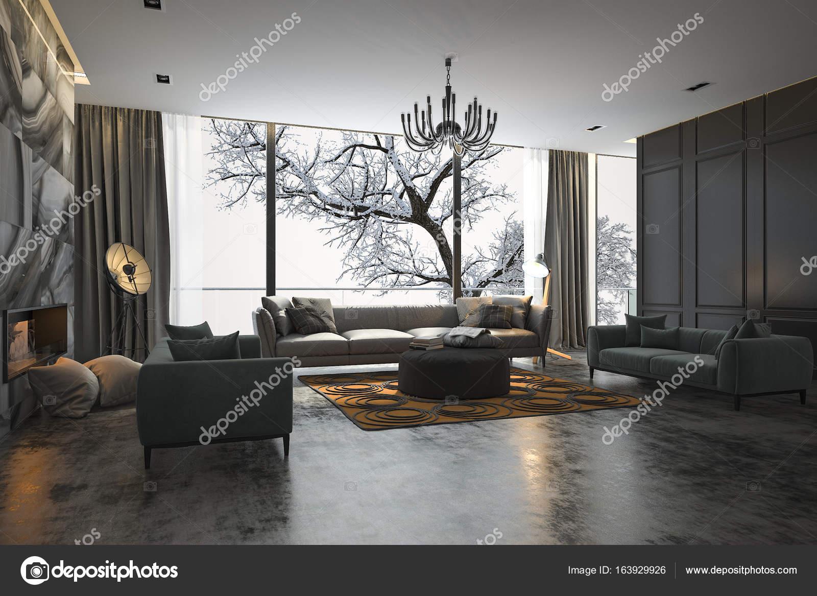 Ideen fur wohnzimmer 3d renderings  3D Rendering-Wohnzimmer mit Sofa in der Nähe von Winter-Szene vor ...