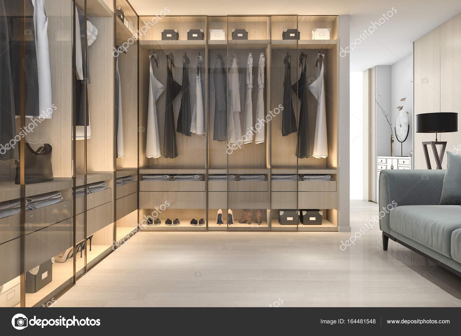 3d rendendo minima la cabina armadio in legno scandinavo ...