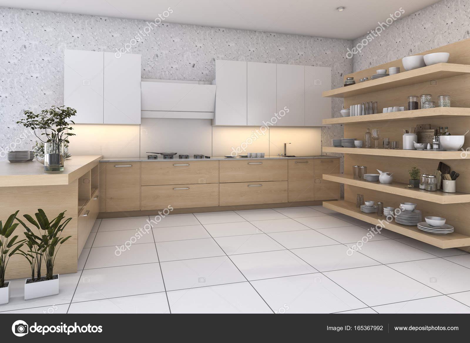 legno di rendering 3D loft cucina con bar e zona living — Foto Stock ...
