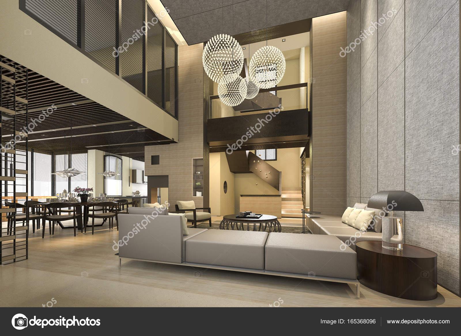 Anspruchsvoll Moderne Wohnzimmer Bilder Sammlung Von 3d Rendering Innen- Und Außendesign — Foto