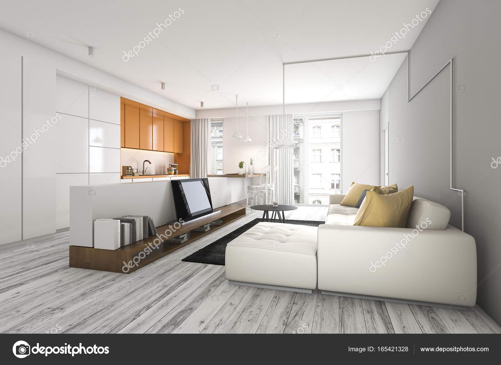 D rendering woonkamer met sofa en tv in de buurt van keukenbar