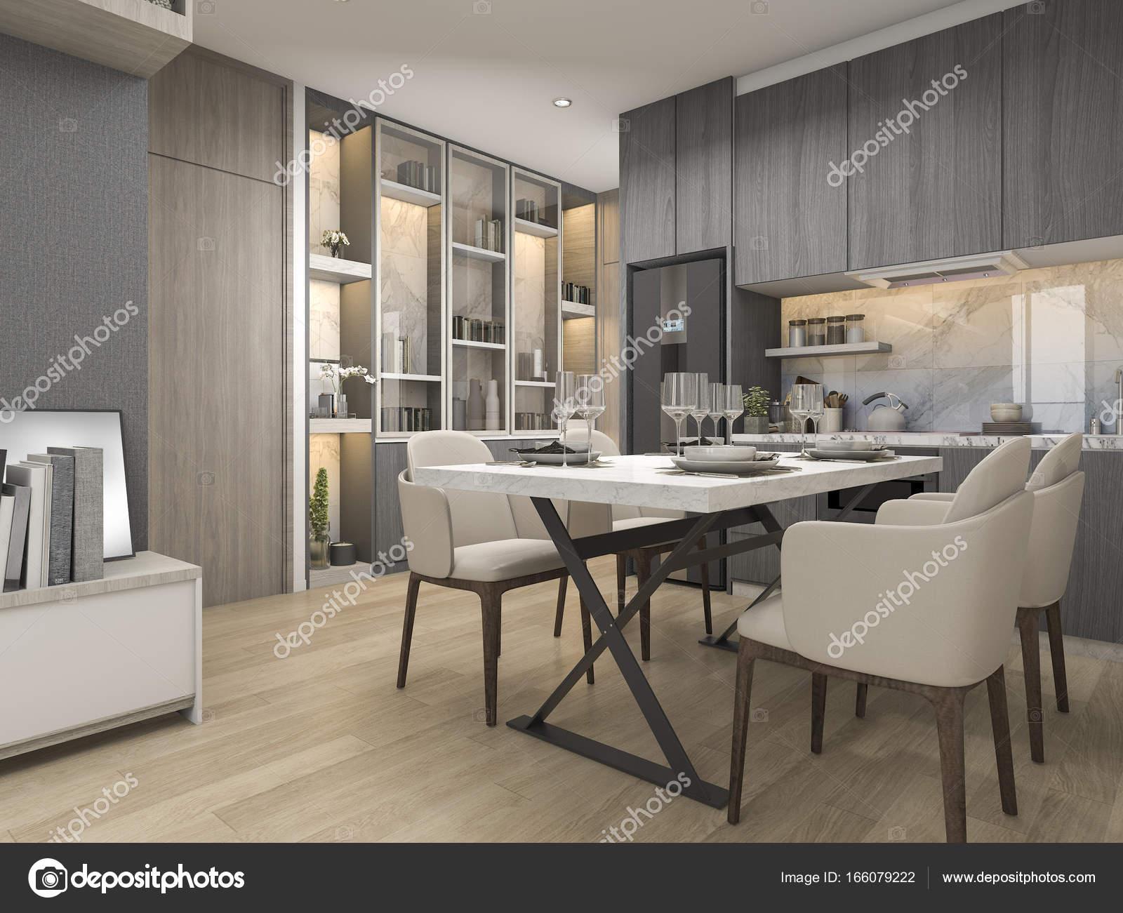 3D Rendering weiß moderne und Luxus-Designer-Küche mit Esstisch und ...