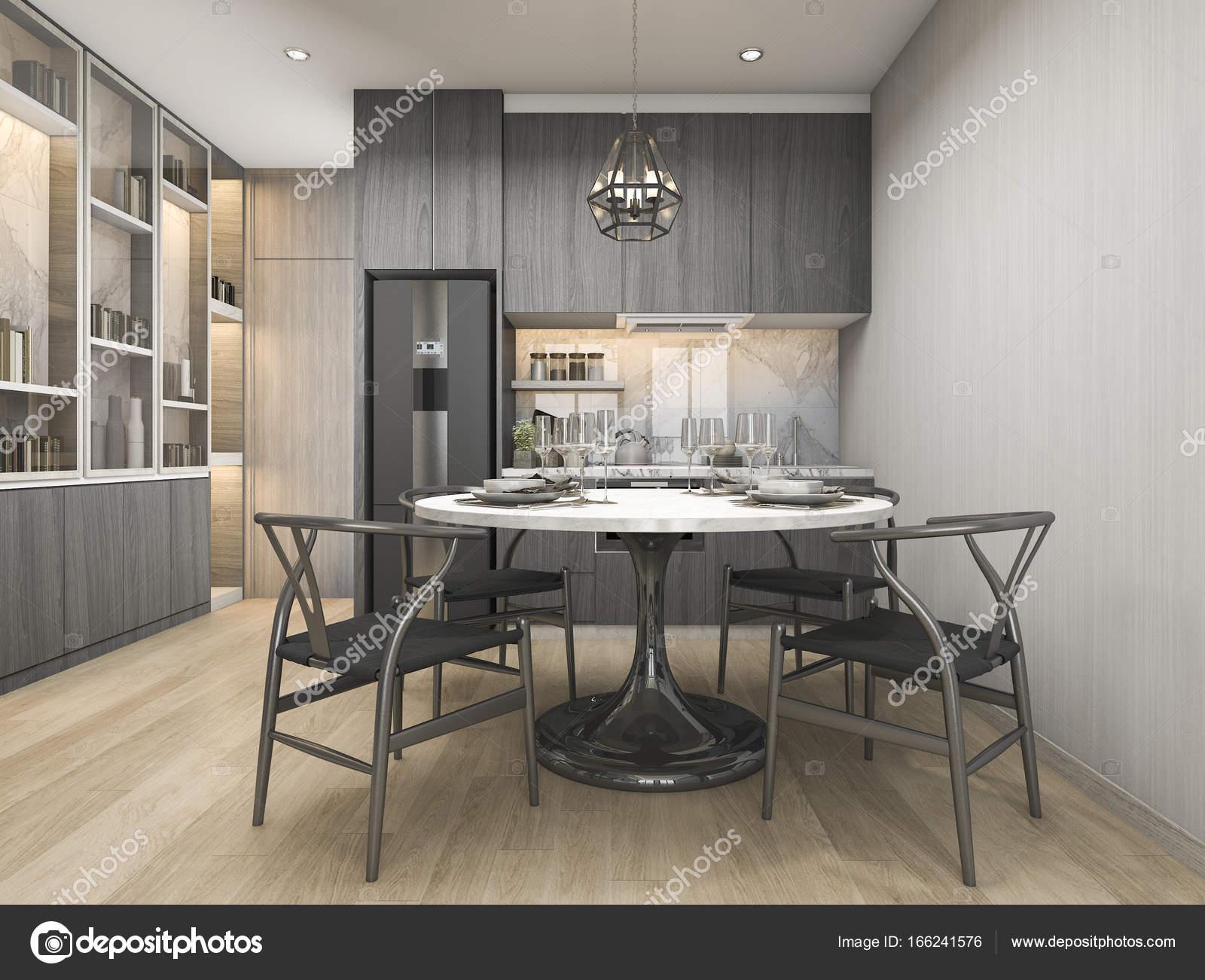 Cucine Di Lusso Design : D rendering bianco moderno e cucina di design di lusso con